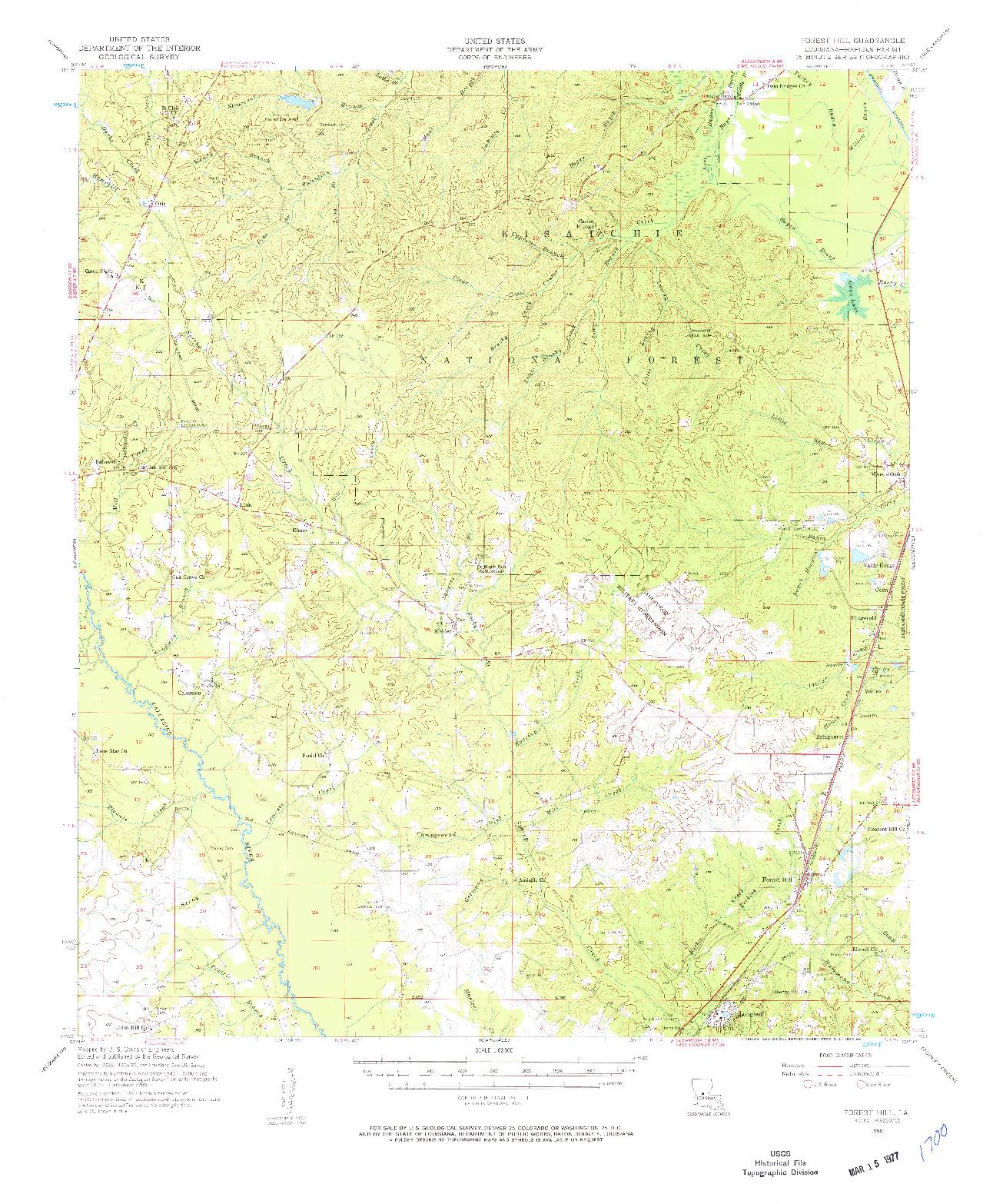 USGS 1:62500-SCALE QUADRANGLE FOR FOREST HILL, LA 1956