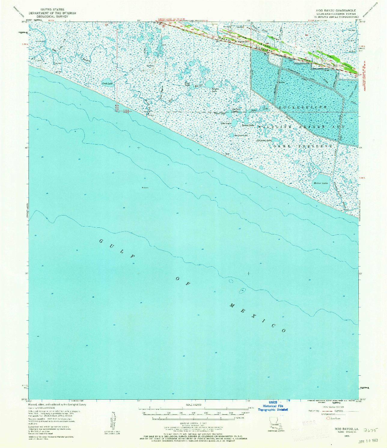 USGS 1:62500-SCALE QUADRANGLE FOR HOG BAYOU, LA 1955