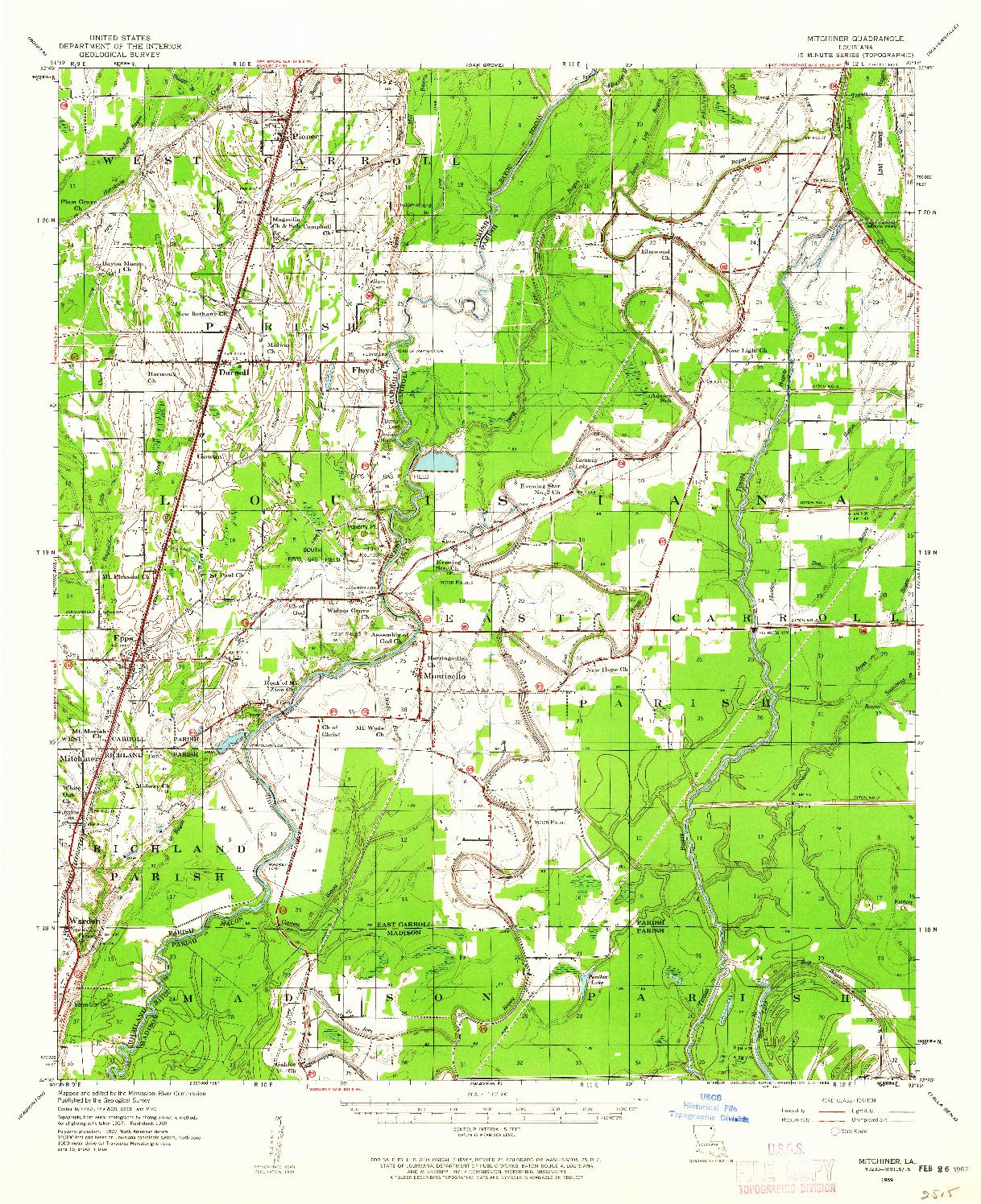 USGS 1:62500-SCALE QUADRANGLE FOR MITCHINER, LA 1959