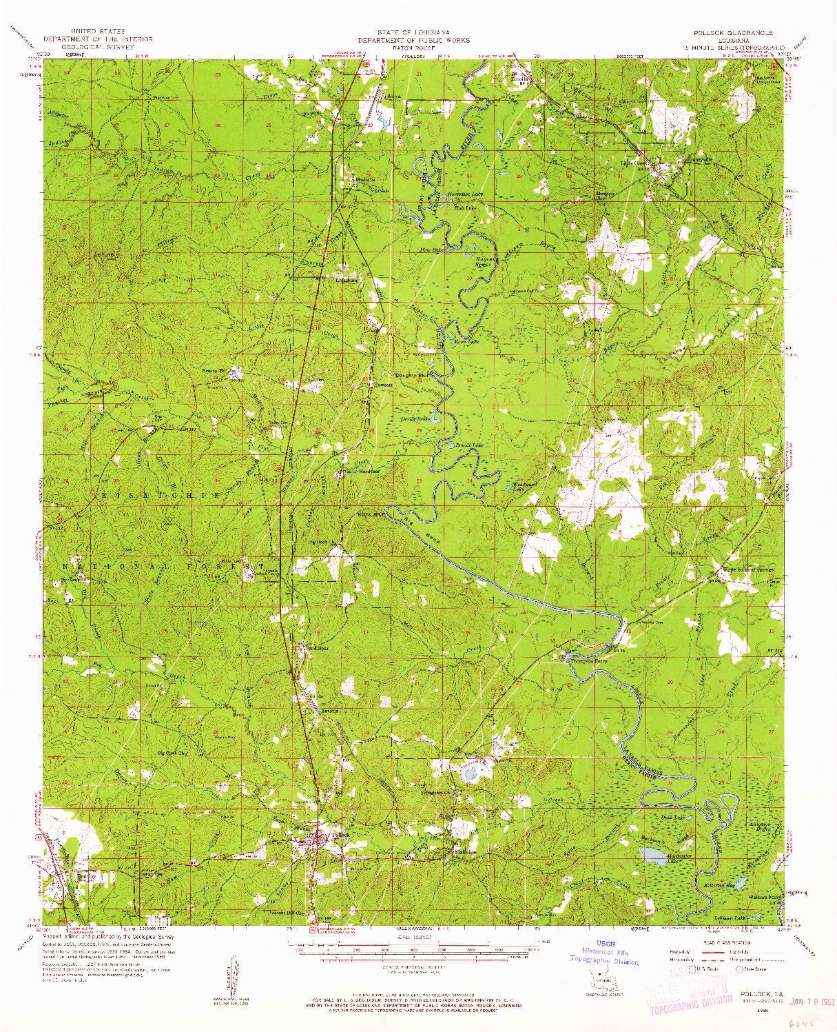 USGS 1:62500-SCALE QUADRANGLE FOR POLLOCK, LA 1958