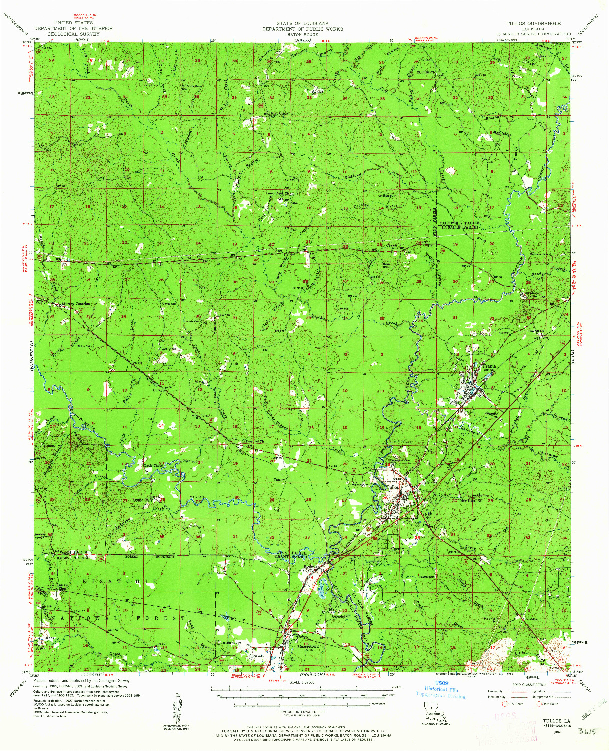 USGS 1:62500-SCALE QUADRANGLE FOR TULLOS, LA 1954