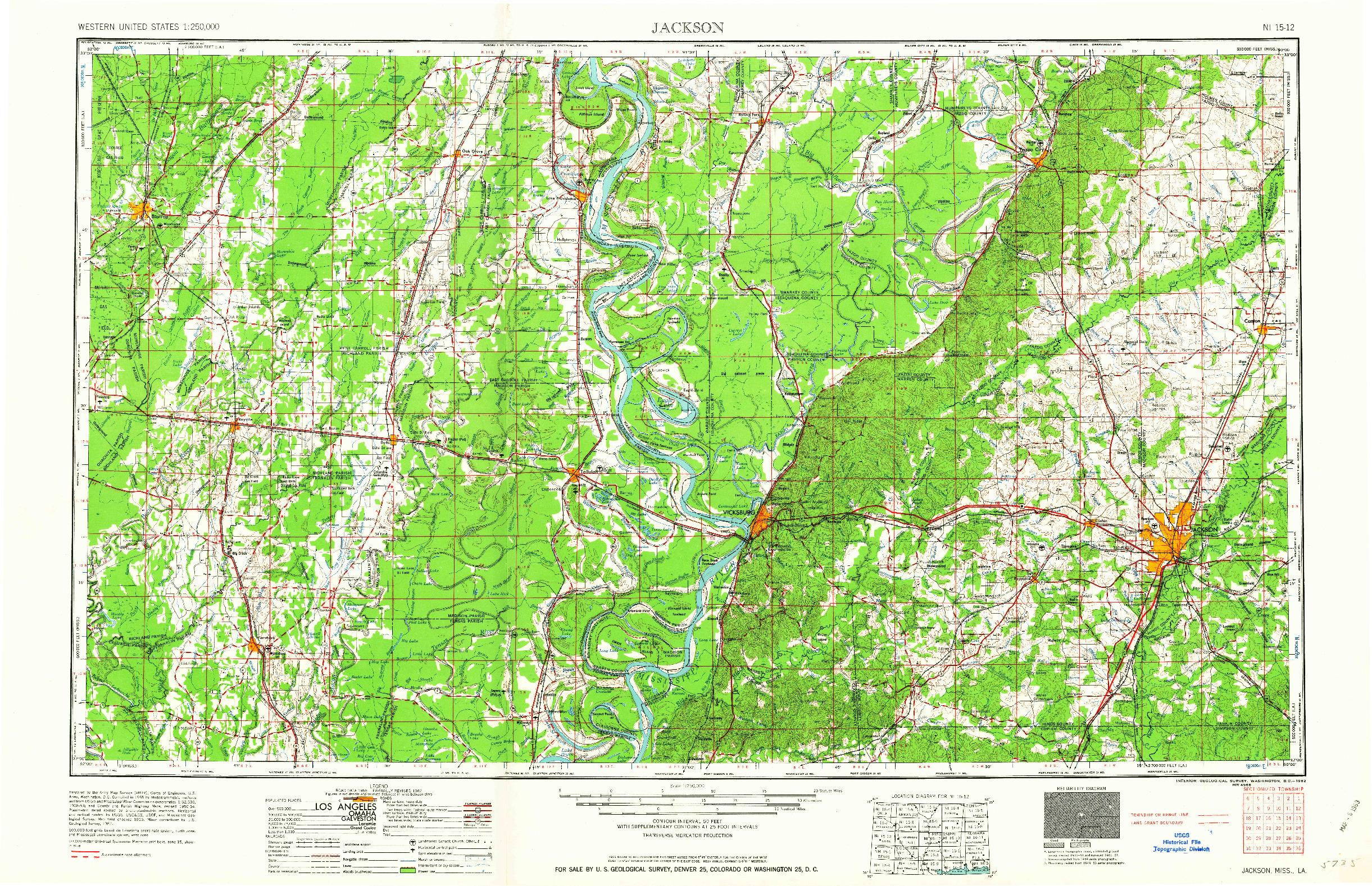 USGS 1:250000-SCALE QUADRANGLE FOR JACKSON, MS 1962