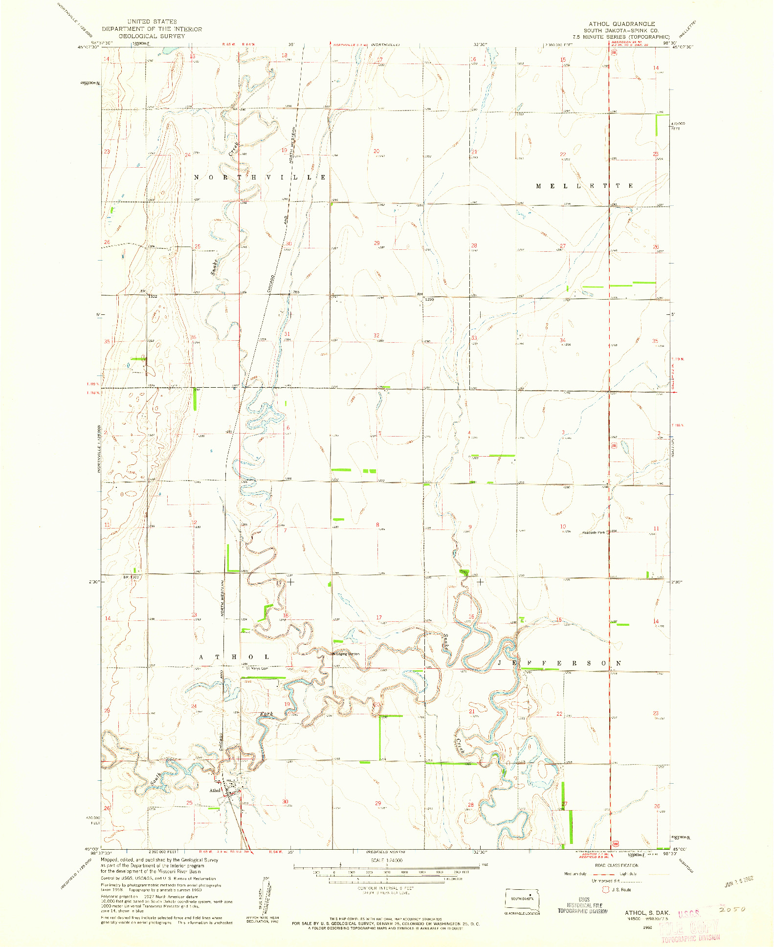 USGS 1:24000-SCALE QUADRANGLE FOR ATHOL, SD 1960