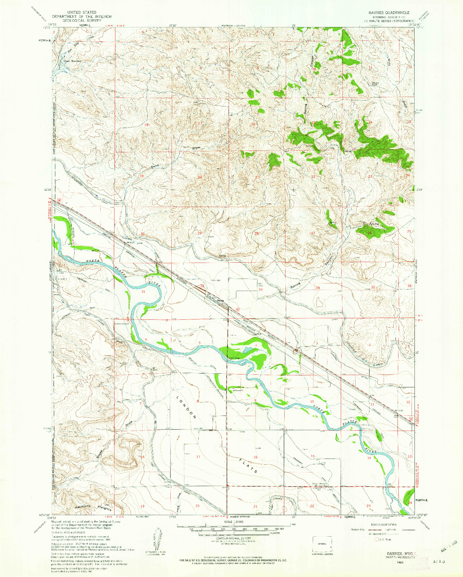 USGS 1:24000-SCALE QUADRANGLE FOR BARNES, WY 1960