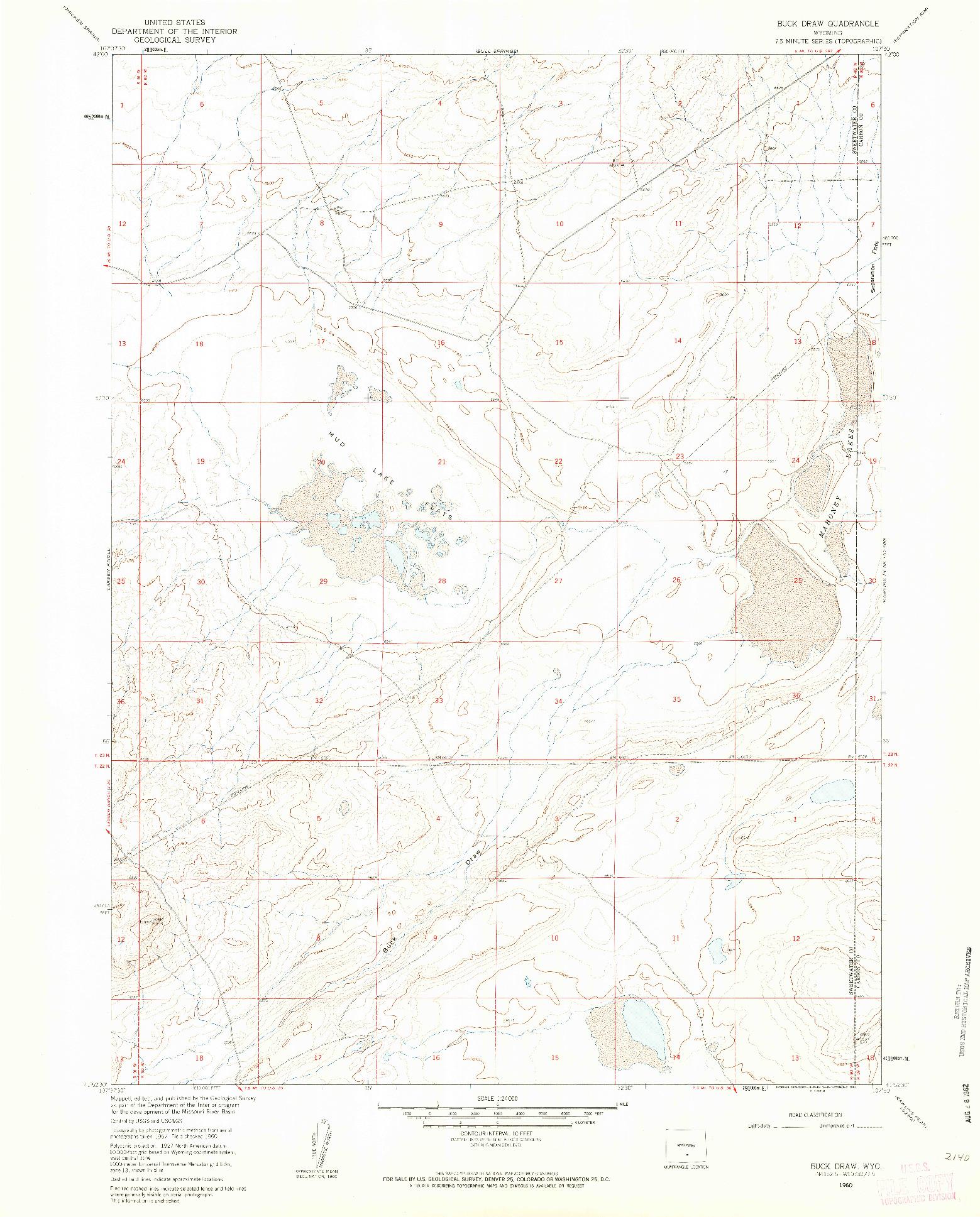 USGS 1:24000-SCALE QUADRANGLE FOR BUCK DRAW, WY 1960