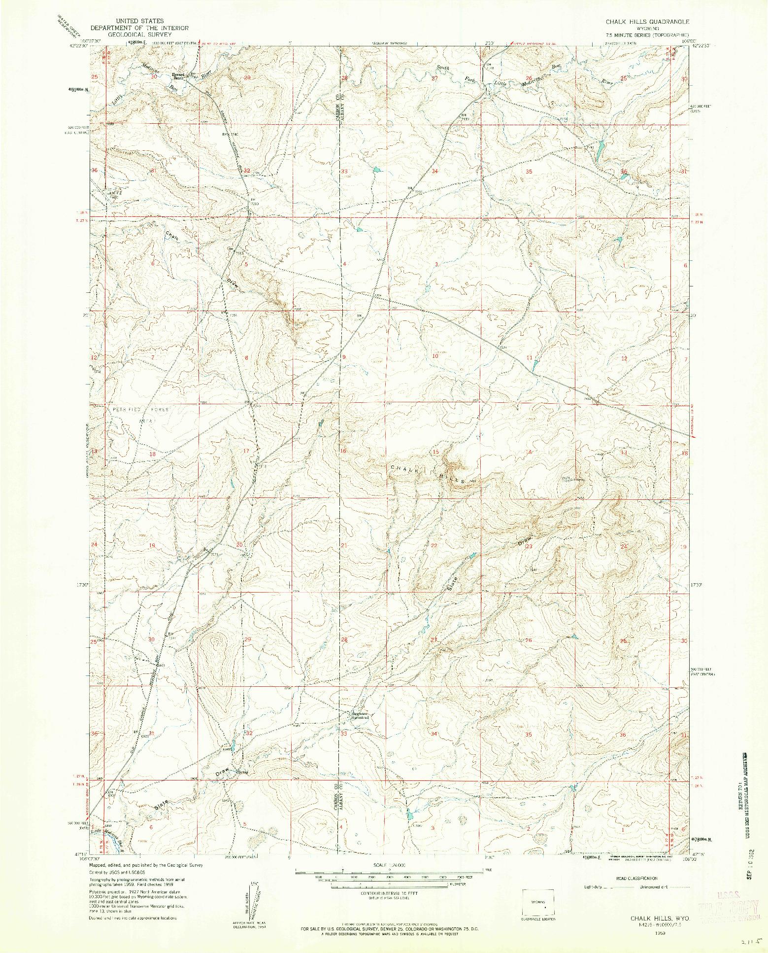 USGS 1:24000-SCALE QUADRANGLE FOR CHALK HILLS, WY 1959