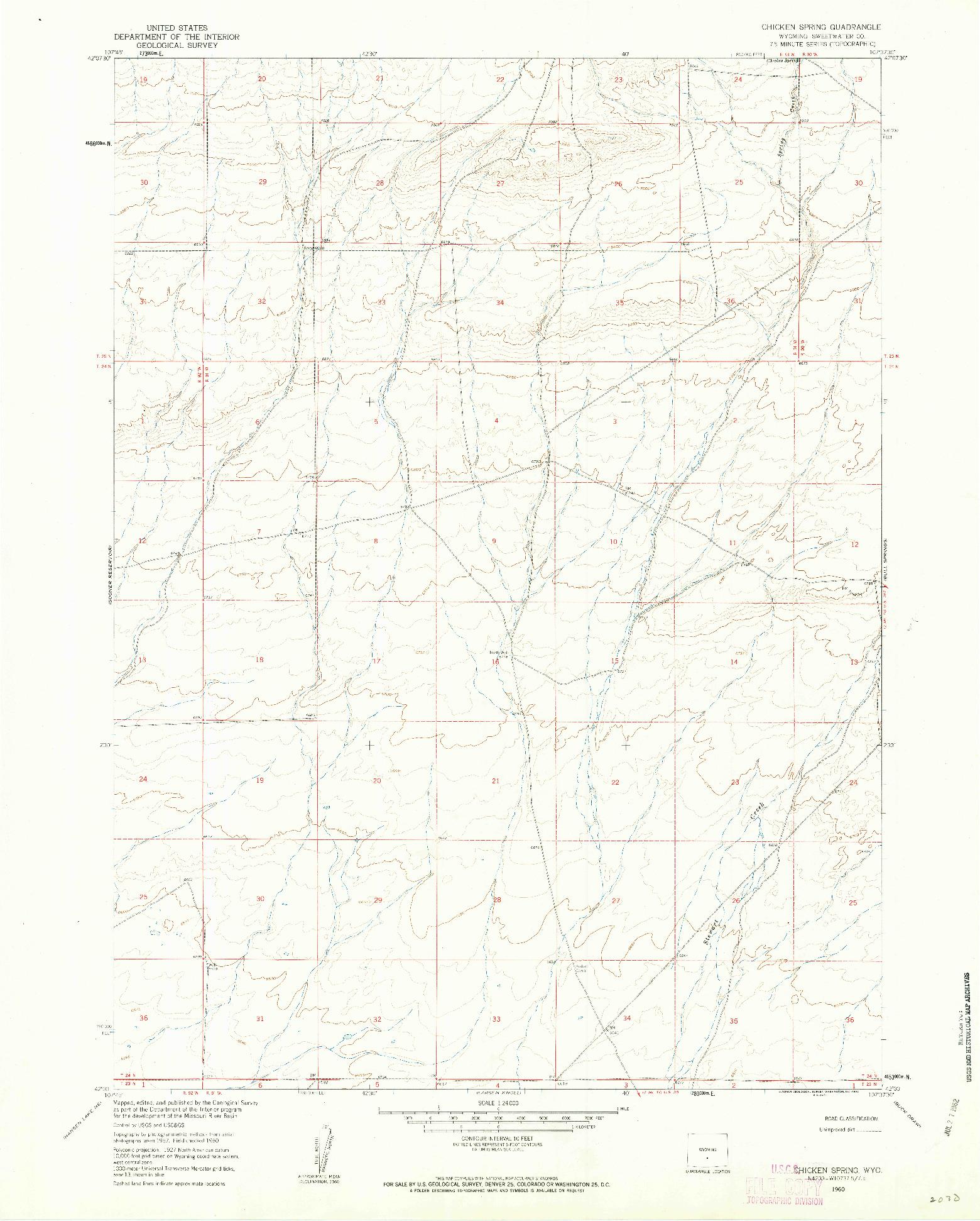 USGS 1:24000-SCALE QUADRANGLE FOR CHICKEN SPRING, WY 1960