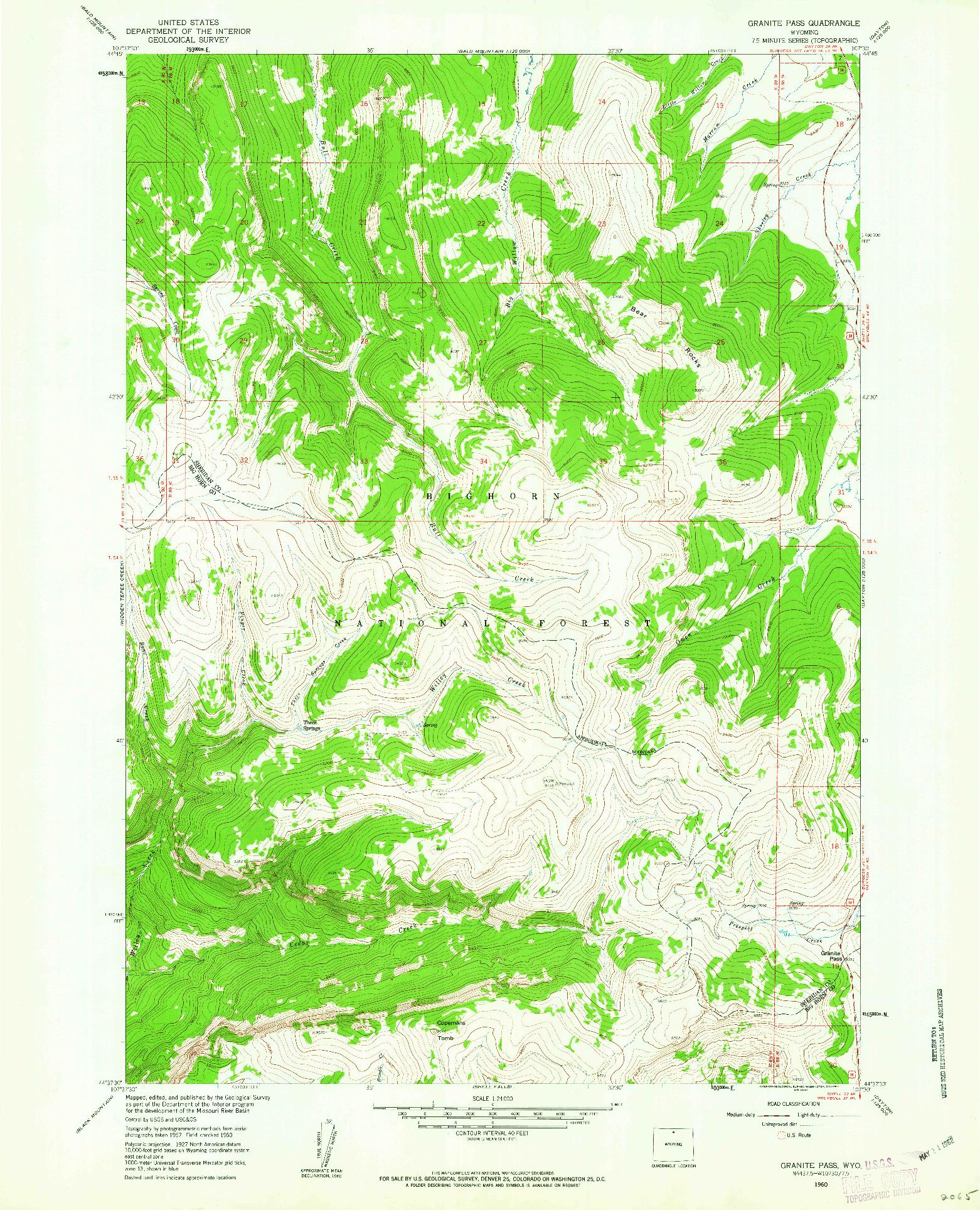 USGS 1:24000-SCALE QUADRANGLE FOR GRANITE PASS, WY 1960