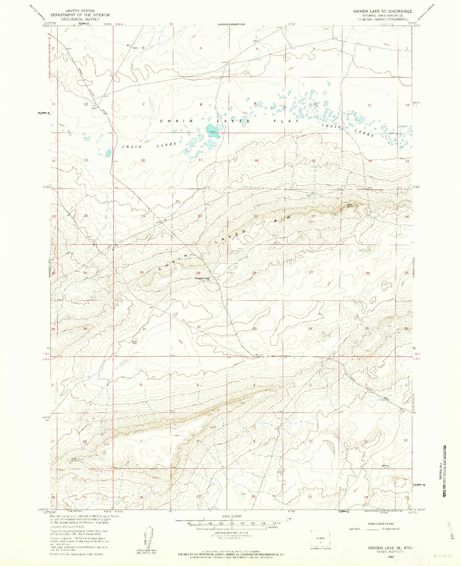 USGS 1:24000-SCALE QUADRANGLE FOR HANSEN LAKE NE, WY 1960