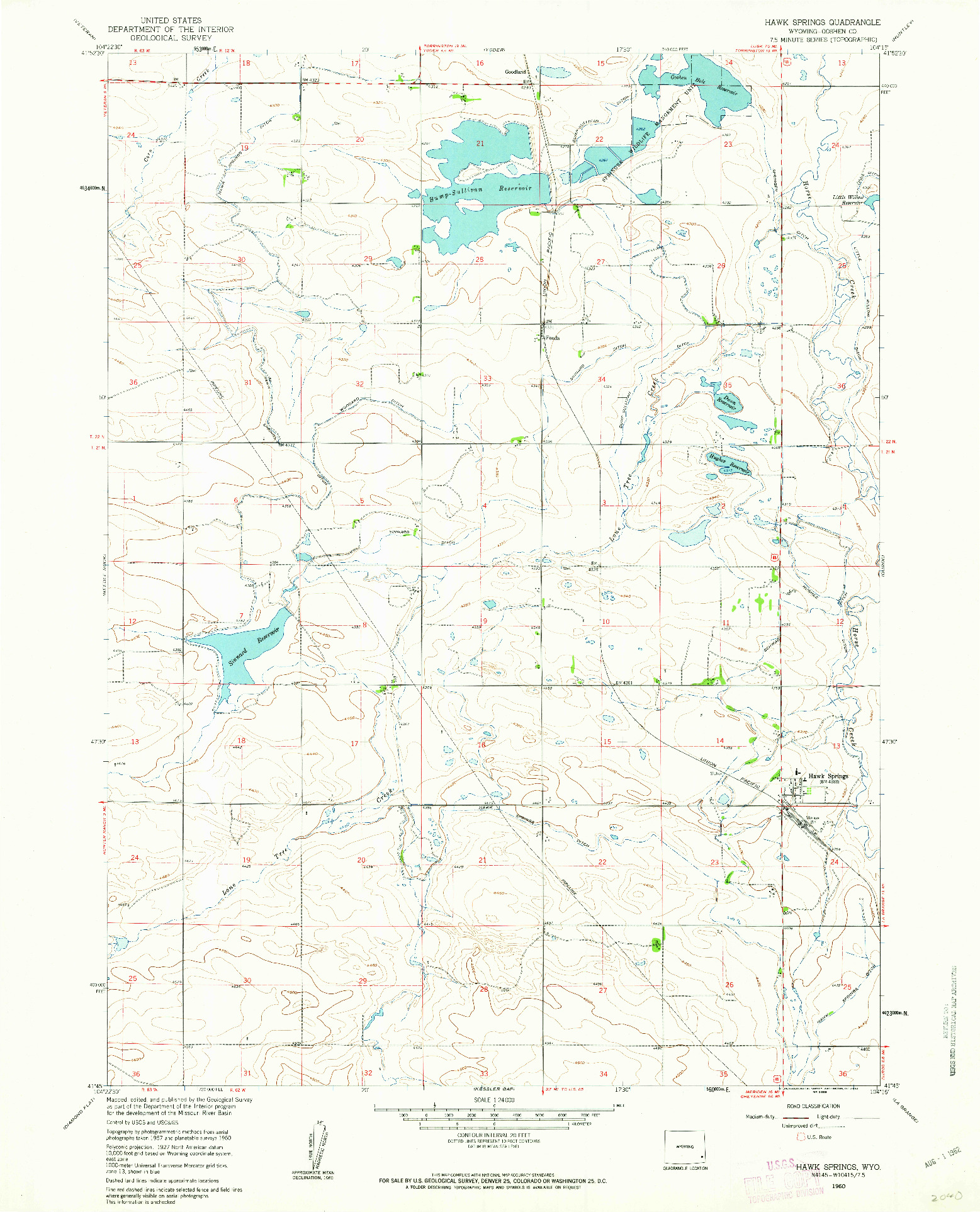 USGS 1:24000-SCALE QUADRANGLE FOR HAWK SPRINGS, WY 1960