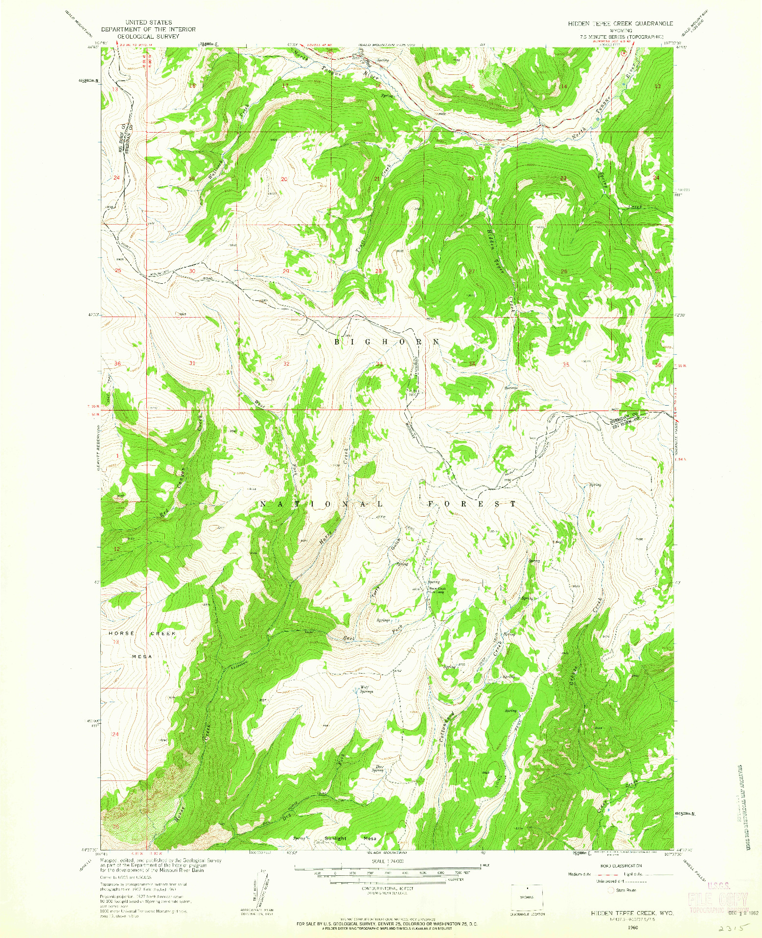 USGS 1:24000-SCALE QUADRANGLE FOR HIDDEN TEPEE CREEK, WY 1960