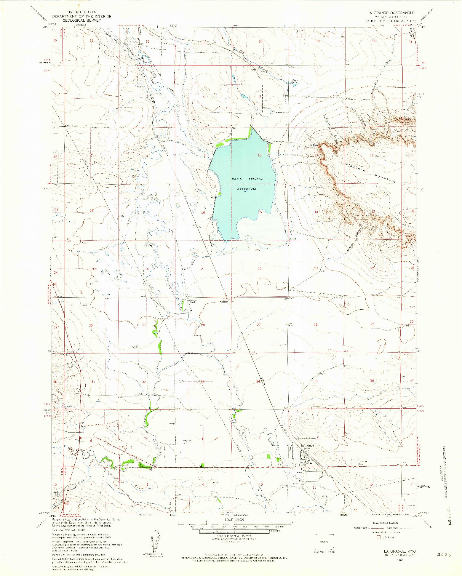 USGS 1:24000-SCALE QUADRANGLE FOR LA GRANGE, WY 1960
