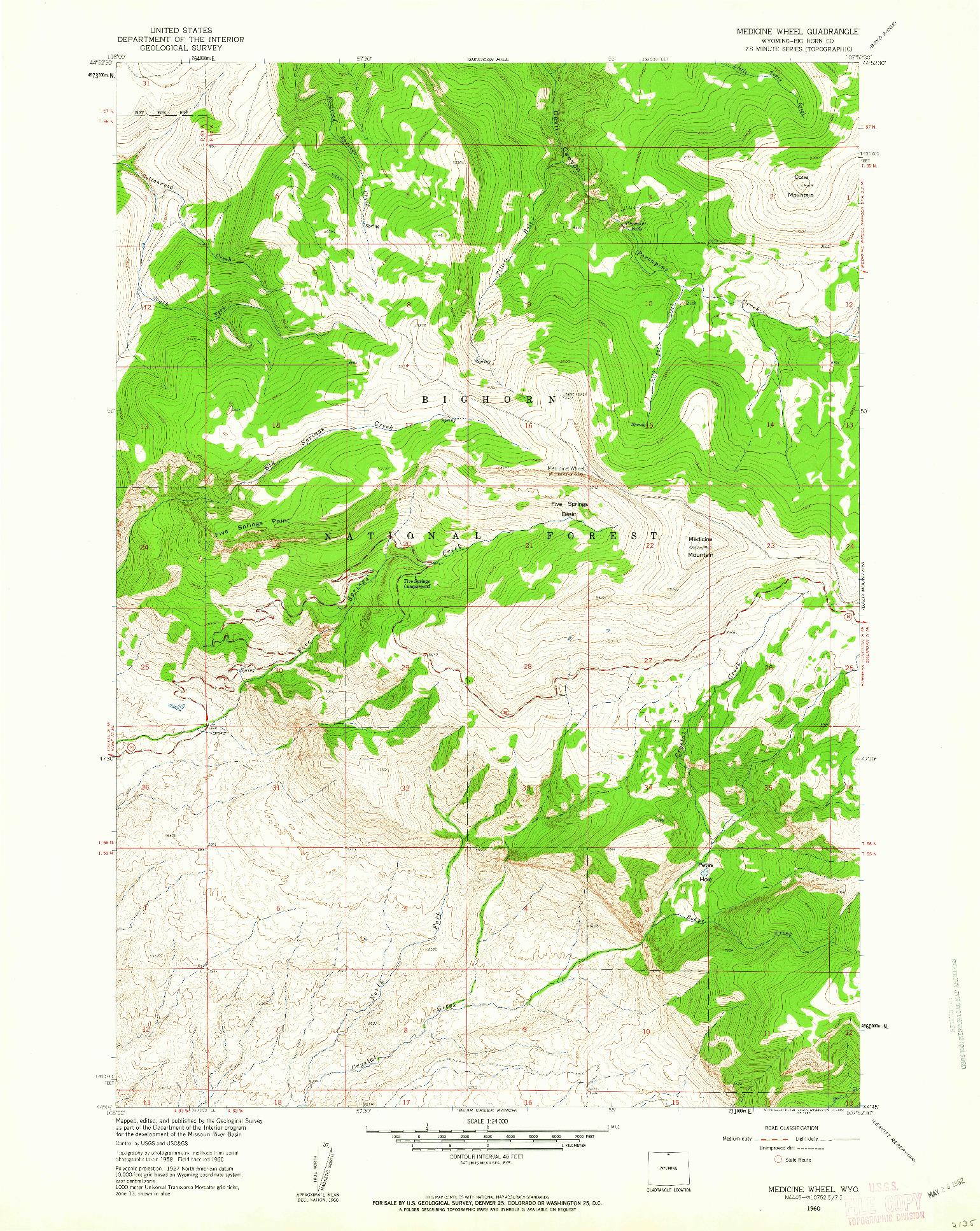 USGS 1:24000-SCALE QUADRANGLE FOR MEDICINE WHEEL, WY 1960