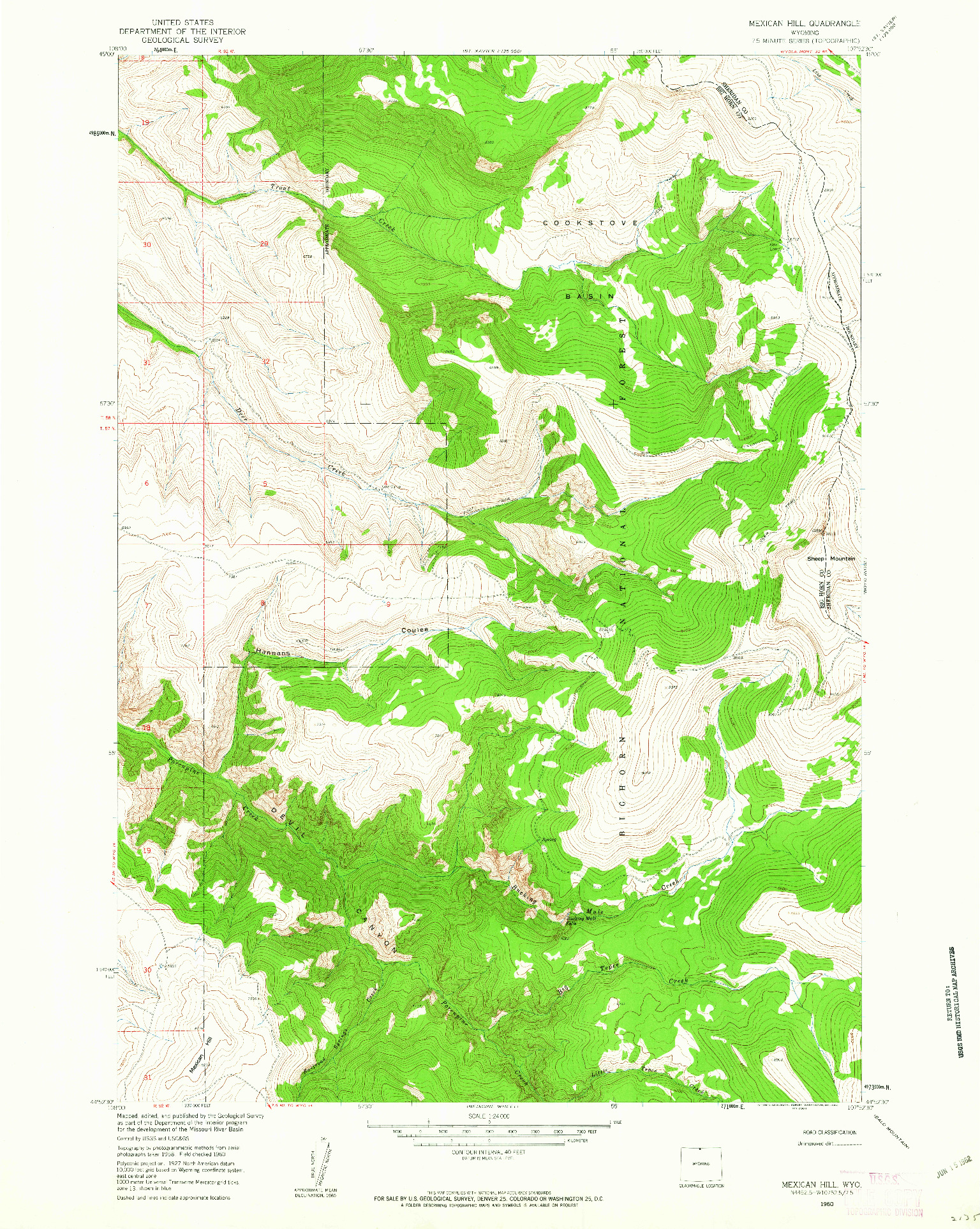 USGS 1:24000-SCALE QUADRANGLE FOR MEXICAN HILL, WY 1960