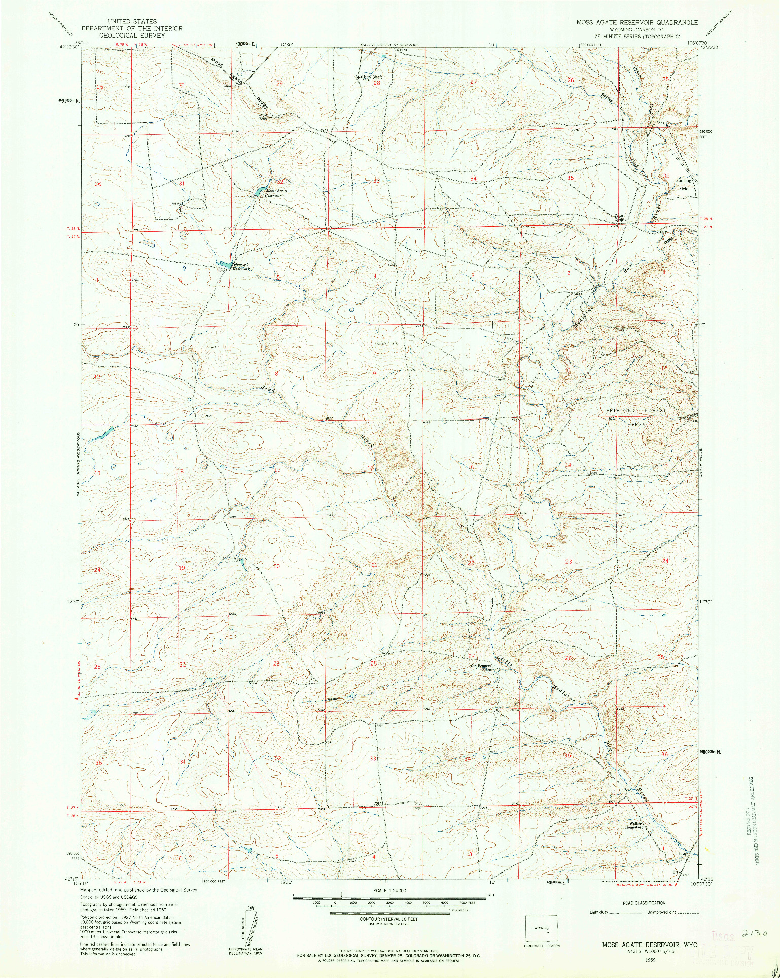 USGS 1:24000-SCALE QUADRANGLE FOR MOSS AGATE RESERVOIR, WY 1959
