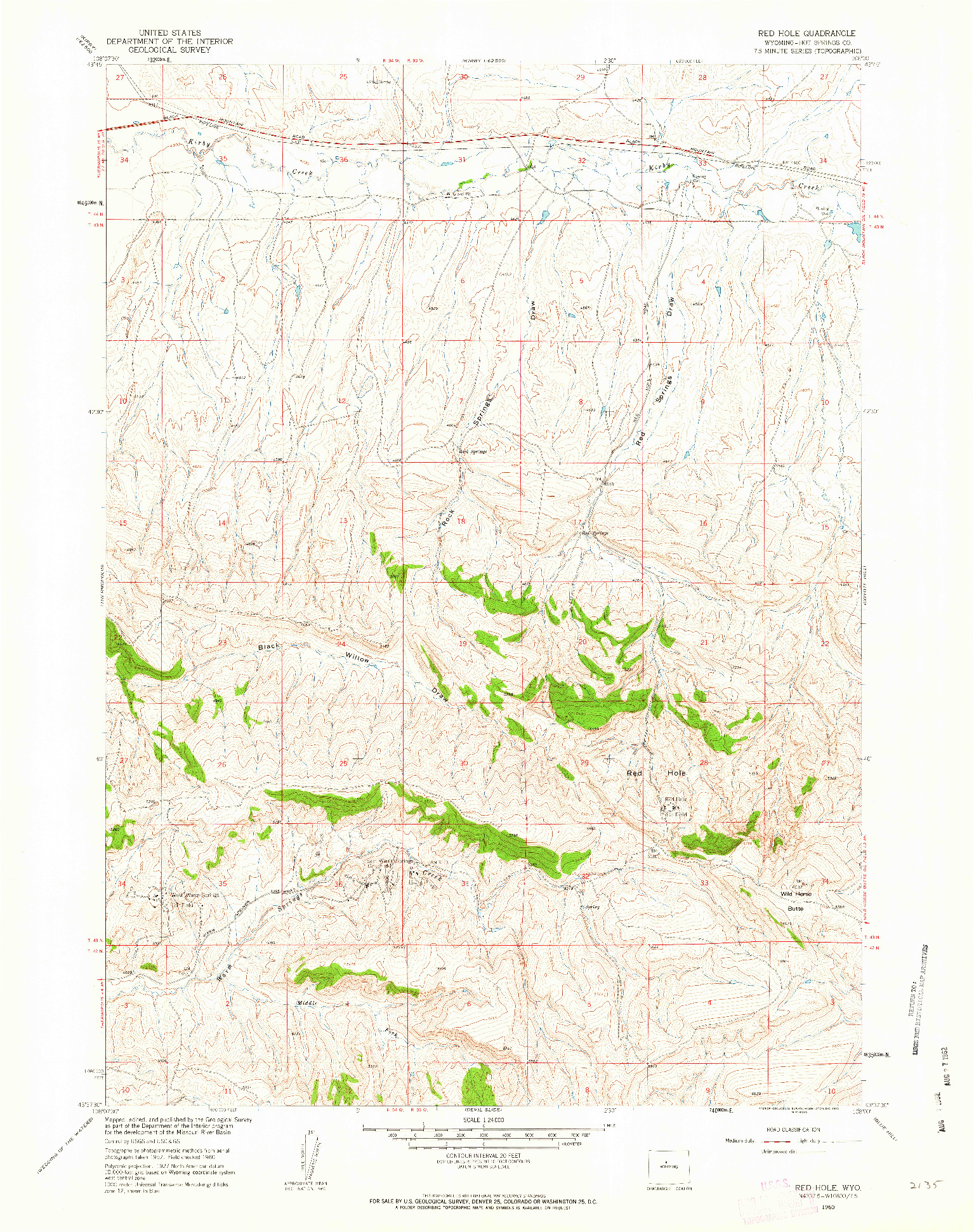 USGS 1:24000-SCALE QUADRANGLE FOR RED HOLE, WY 1960