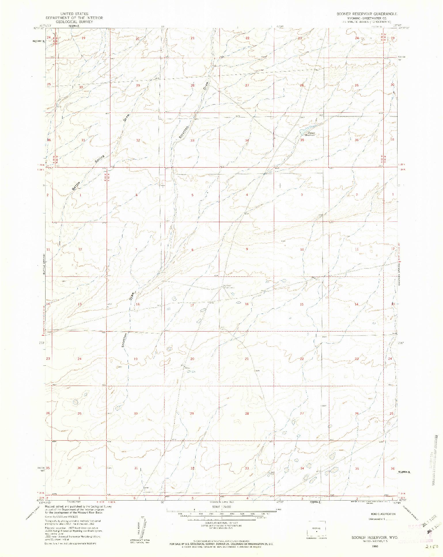 USGS 1:24000-SCALE QUADRANGLE FOR SOONER RESERVOIR, WY 1960