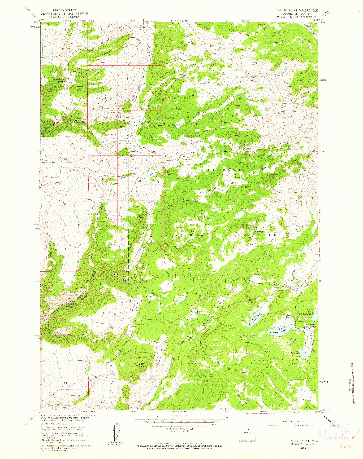 USGS 1:24000-SCALE QUADRANGLE FOR SPANISH POINT, WY 1960