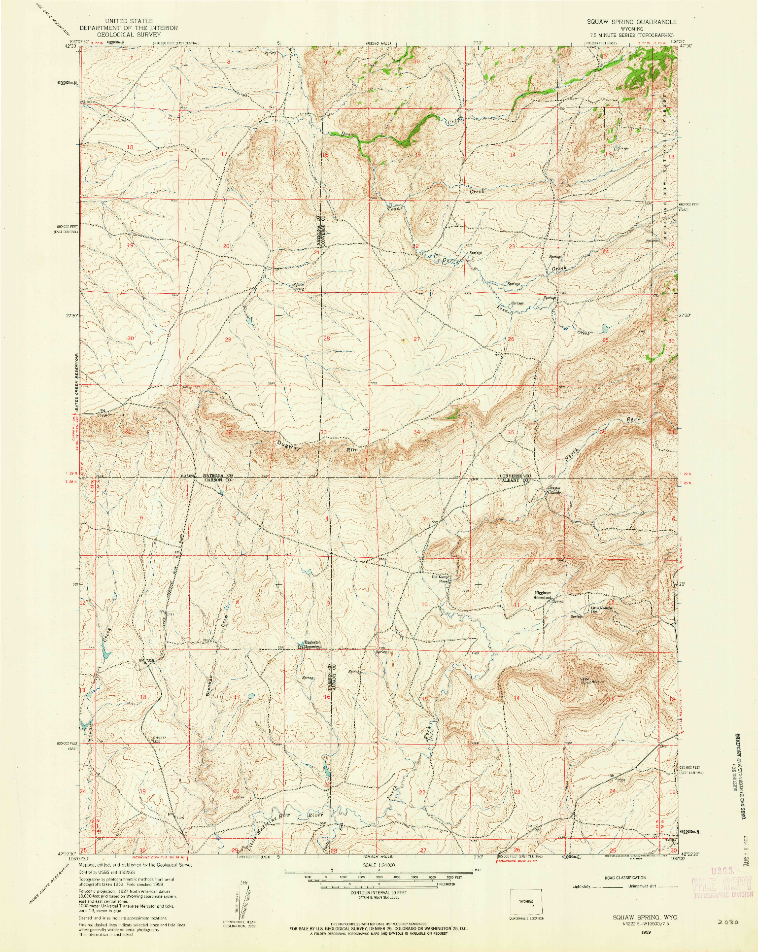 USGS 1:24000-SCALE QUADRANGLE FOR SQUAW SPRING, WY 1959