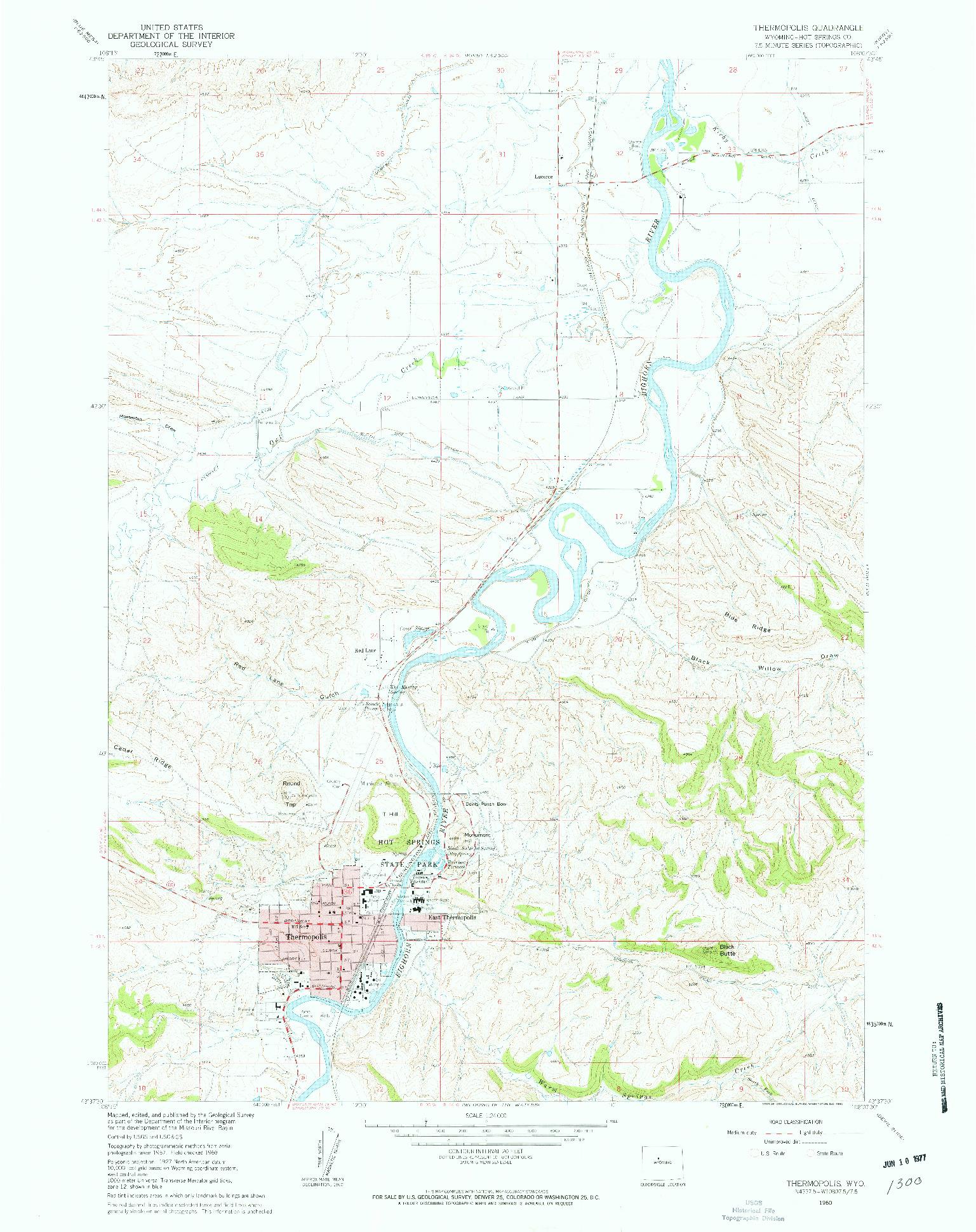 USGS 1:24000-SCALE QUADRANGLE FOR THERMOPOLIS, WY 1960