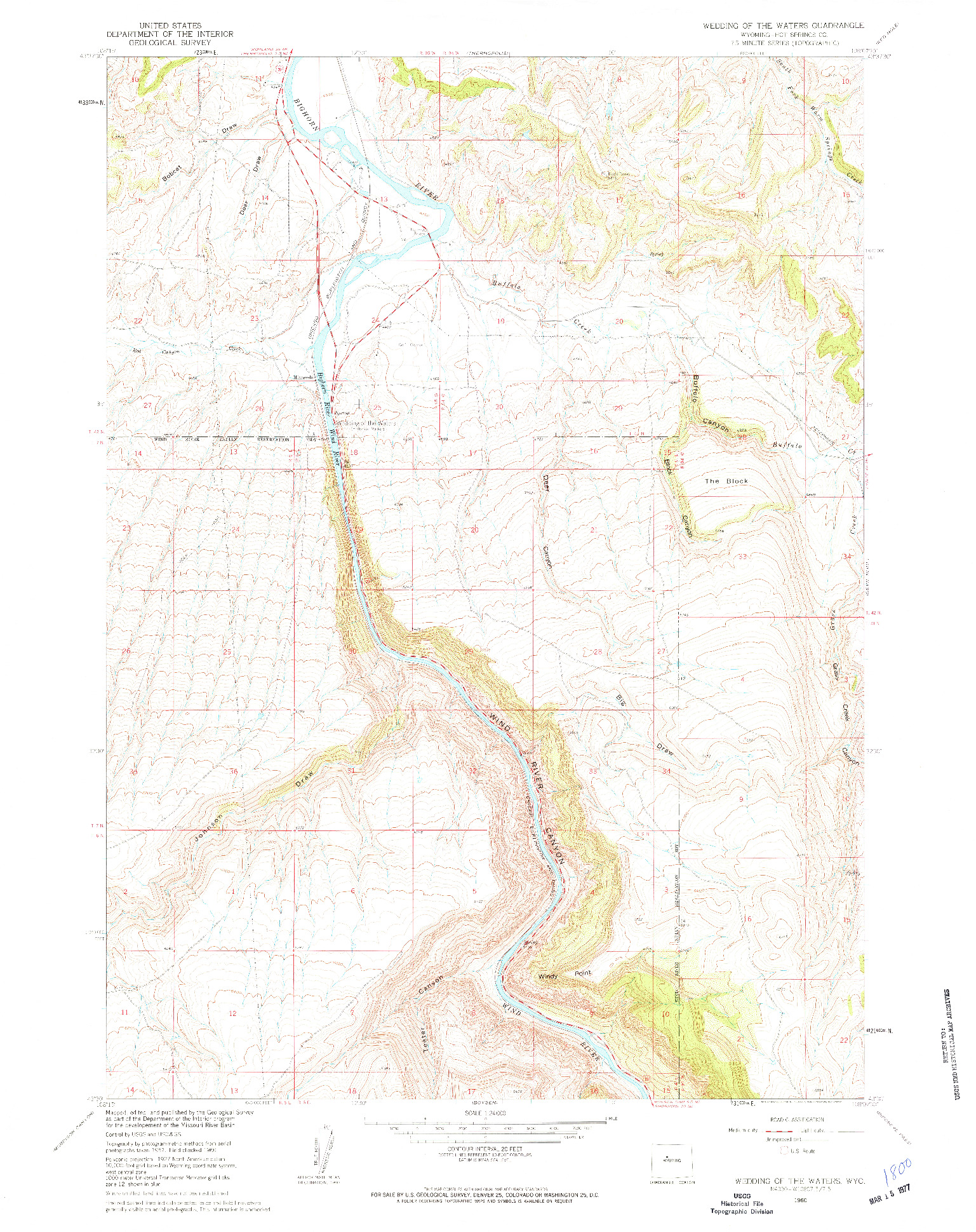 USGS 1:24000-SCALE QUADRANGLE FOR WEDDING OF THE WATERS, WY 1960