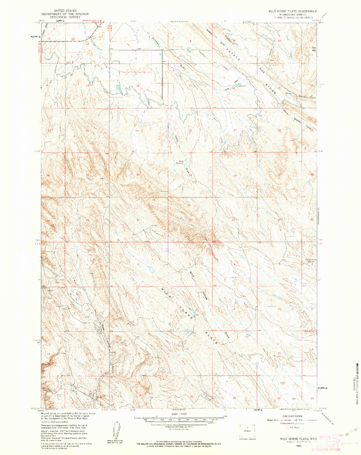 USGS 1:24000-SCALE QUADRANGLE FOR WILD HORSE FLATS, WY 1960
