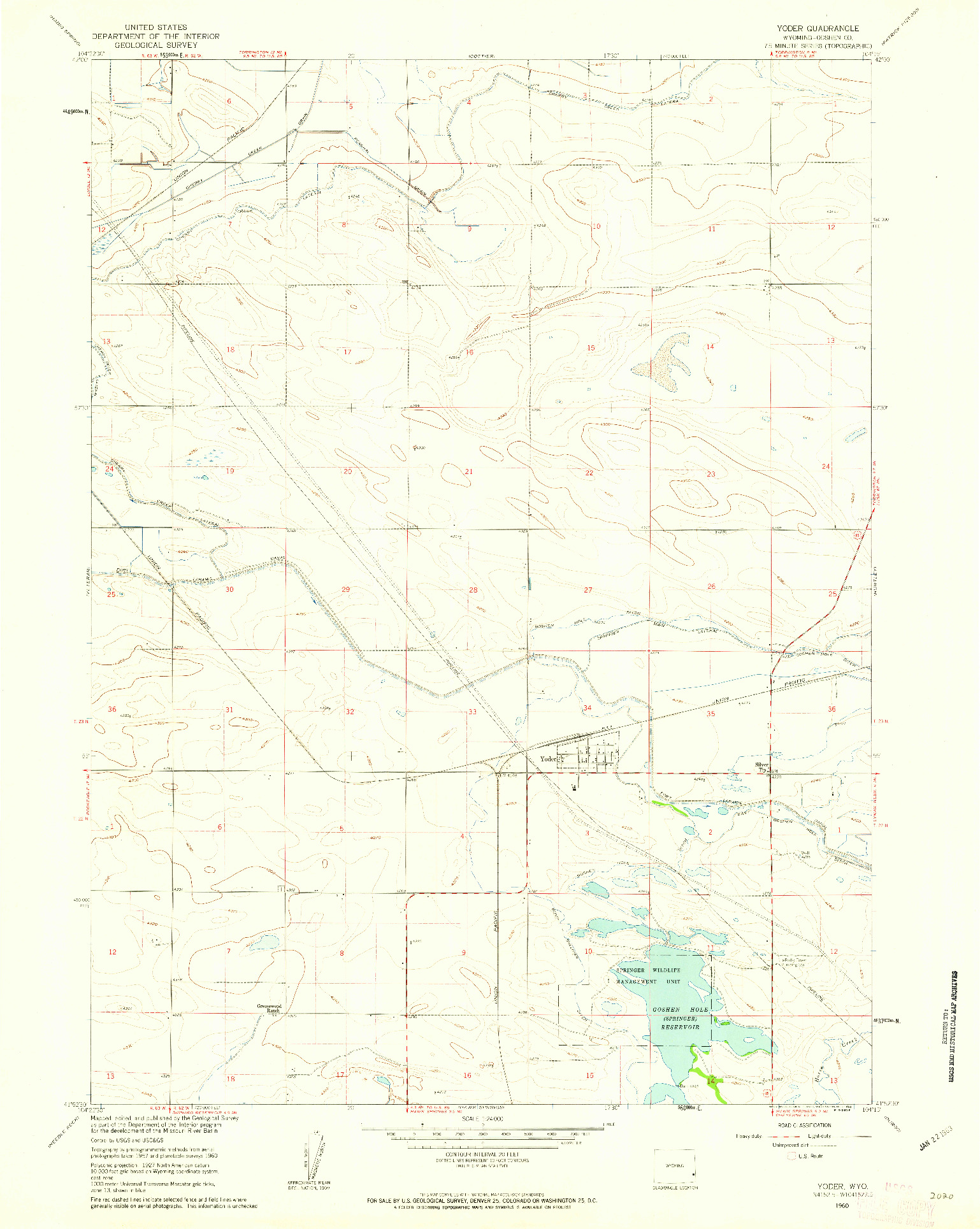 USGS 1:24000-SCALE QUADRANGLE FOR YODER, WY 1960