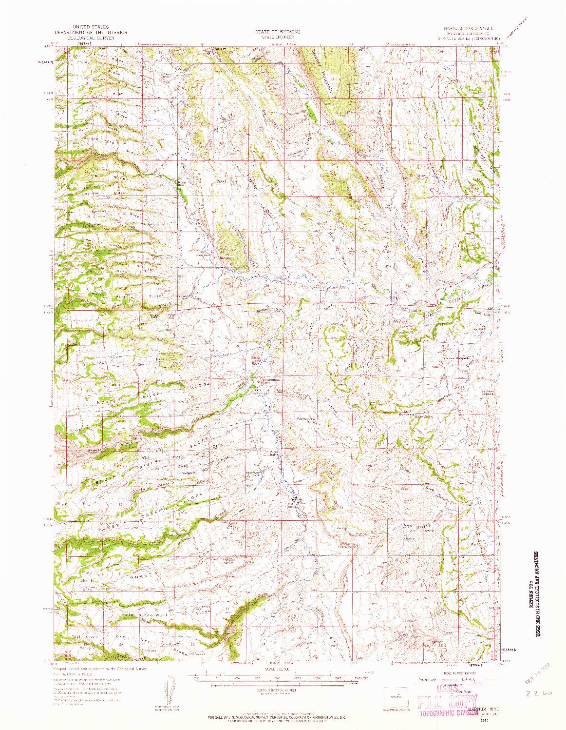 USGS 1:62500-SCALE QUADRANGLE FOR BARNUM, WY 1961