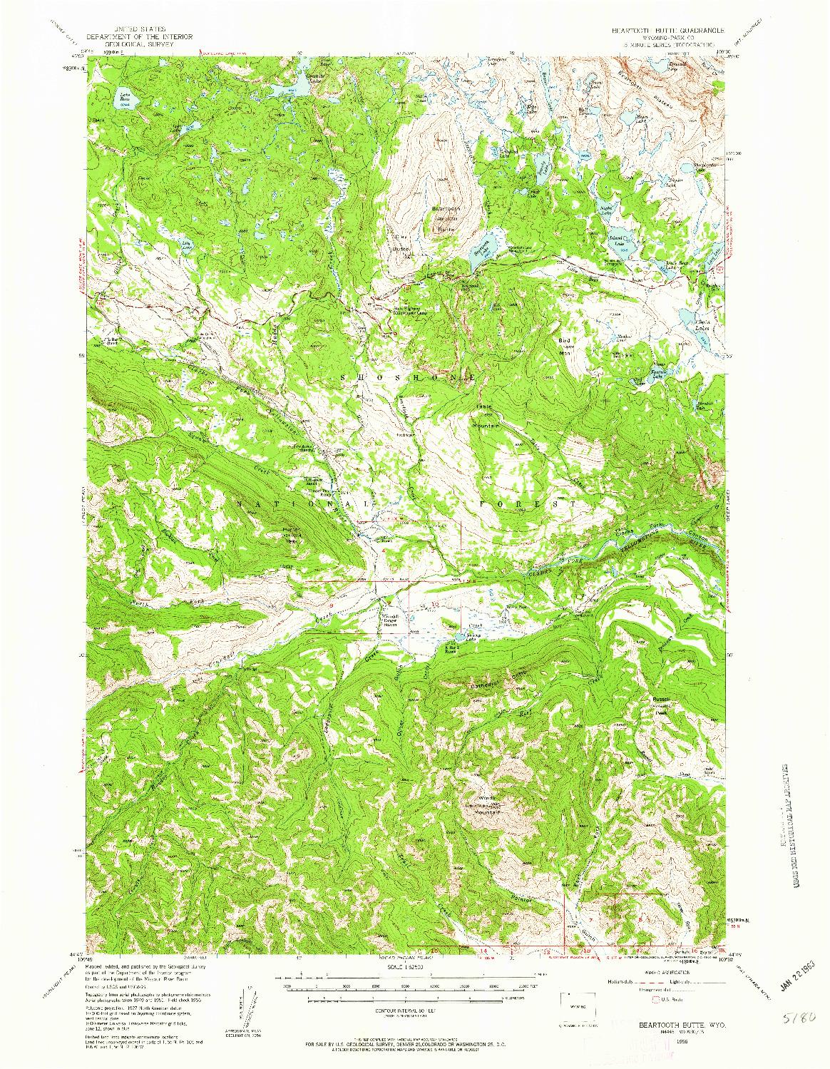 USGS 1:62500-SCALE QUADRANGLE FOR BEARTOOTH BUTTE, WY 1956