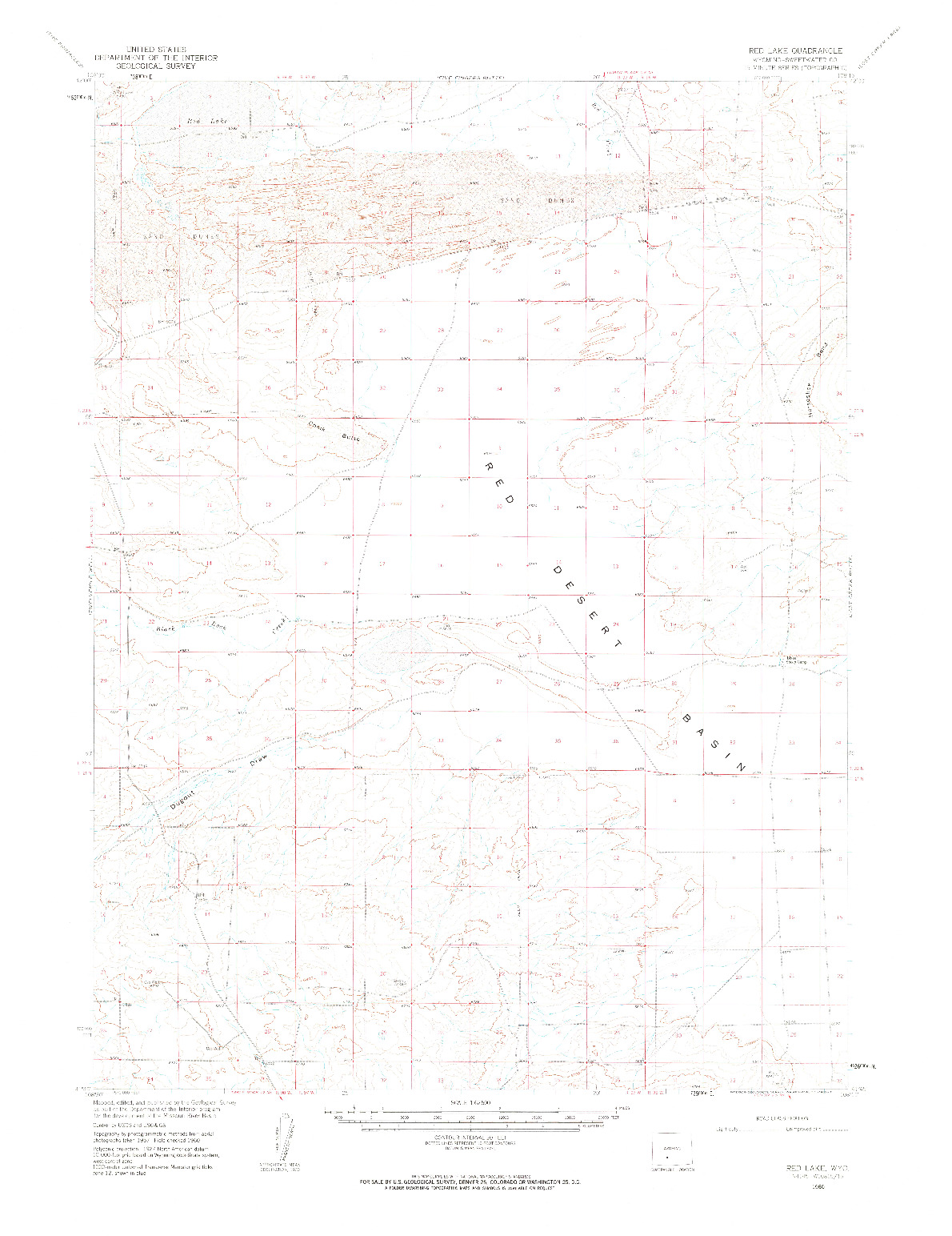 USGS 1:62500-SCALE QUADRANGLE FOR RED LAKE, WY 1960