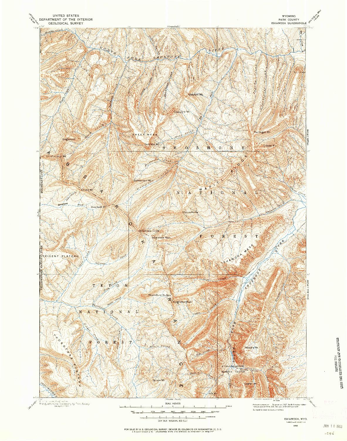 USGS 1:125000-SCALE QUADRANGLE FOR ISHAWOOA, WY 1893