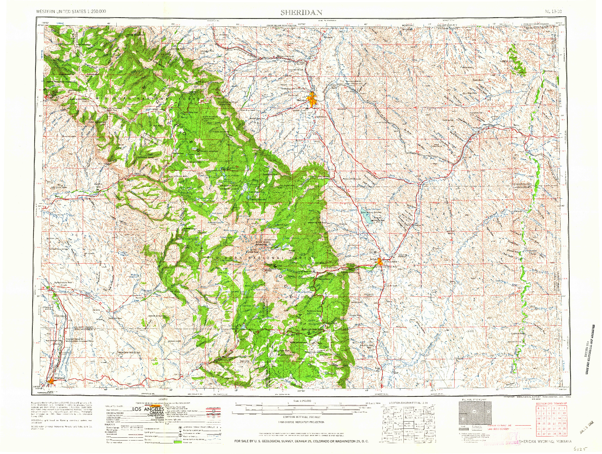 USGS 1:250000-SCALE QUADRANGLE FOR SHERIDAN, WY 1962