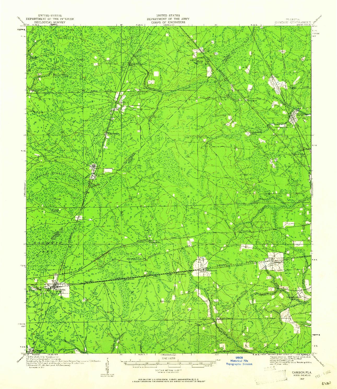 USGS 1:62500-SCALE QUADRANGLE FOR CAMBON, FL 1917