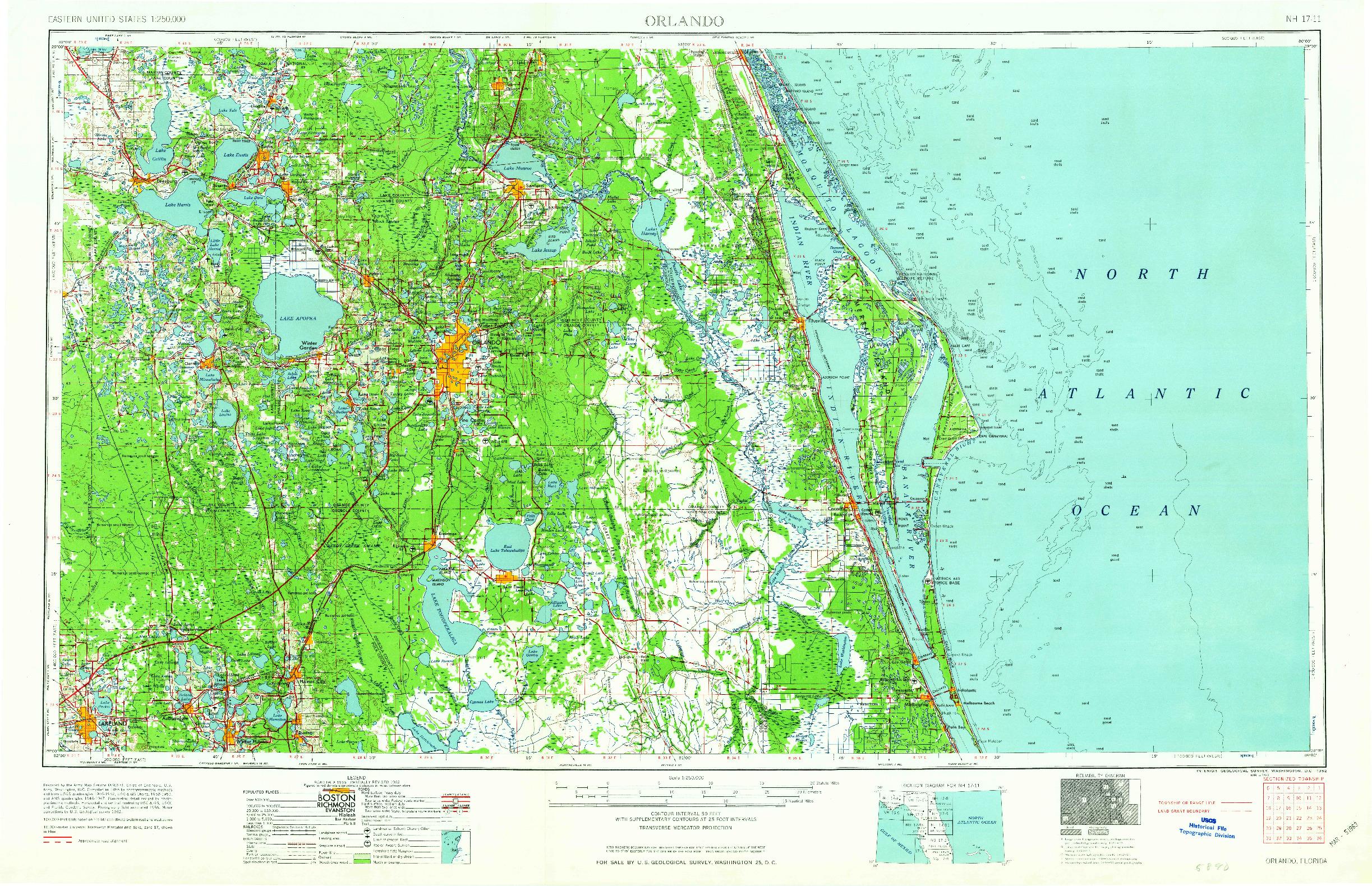 USGS 1:250000-SCALE QUADRANGLE FOR ORLANDO, FL 1962