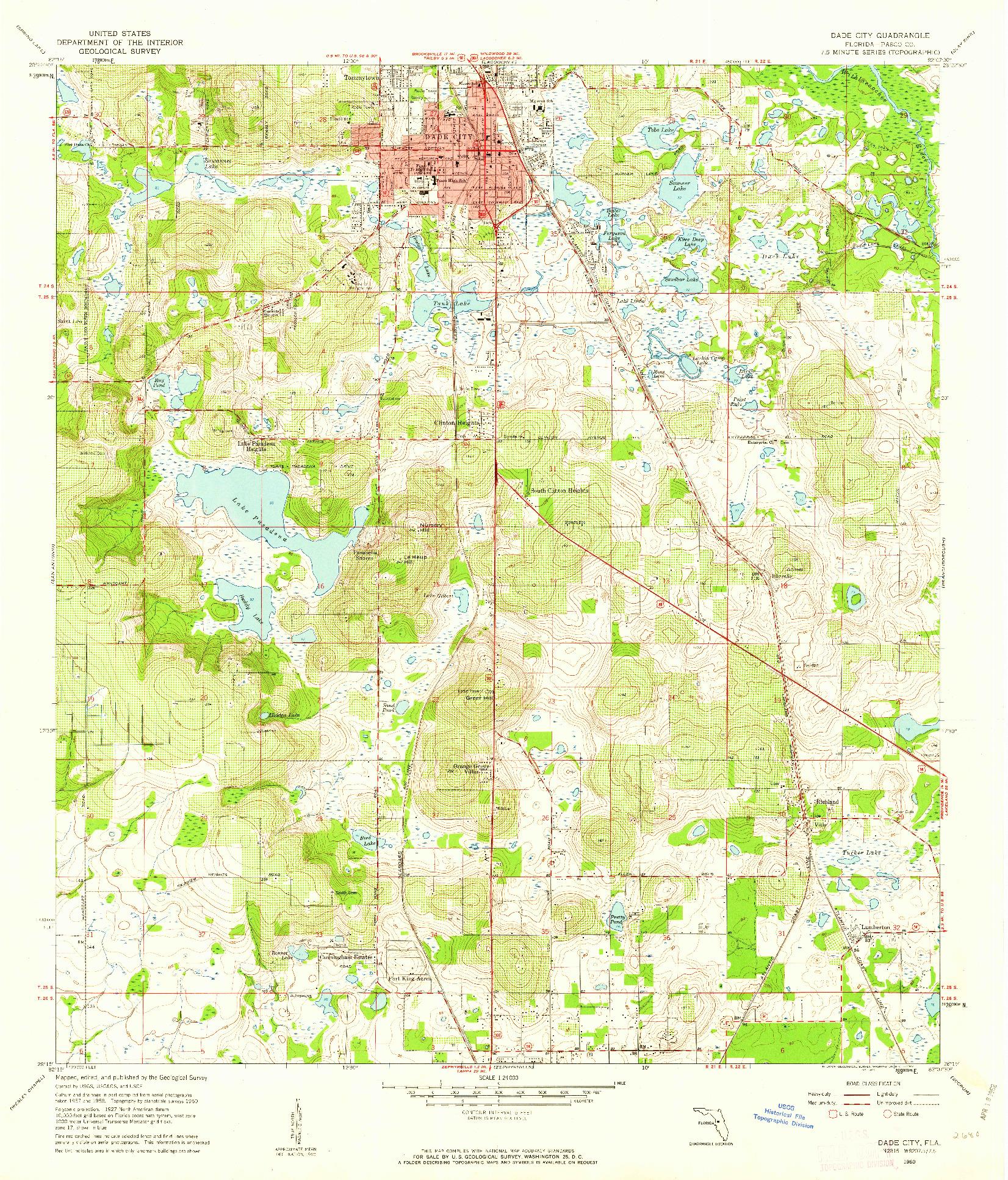 USGS 1:24000-SCALE QUADRANGLE FOR DADE CITY, FL 1960 on