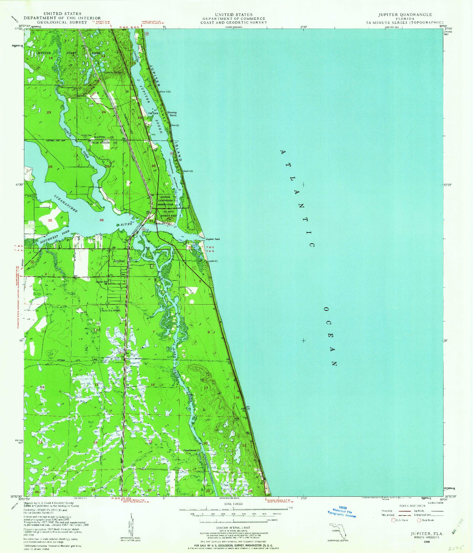 USGS 1:24000-SCALE QUADRANGLE FOR JUPITER, FL 1948
