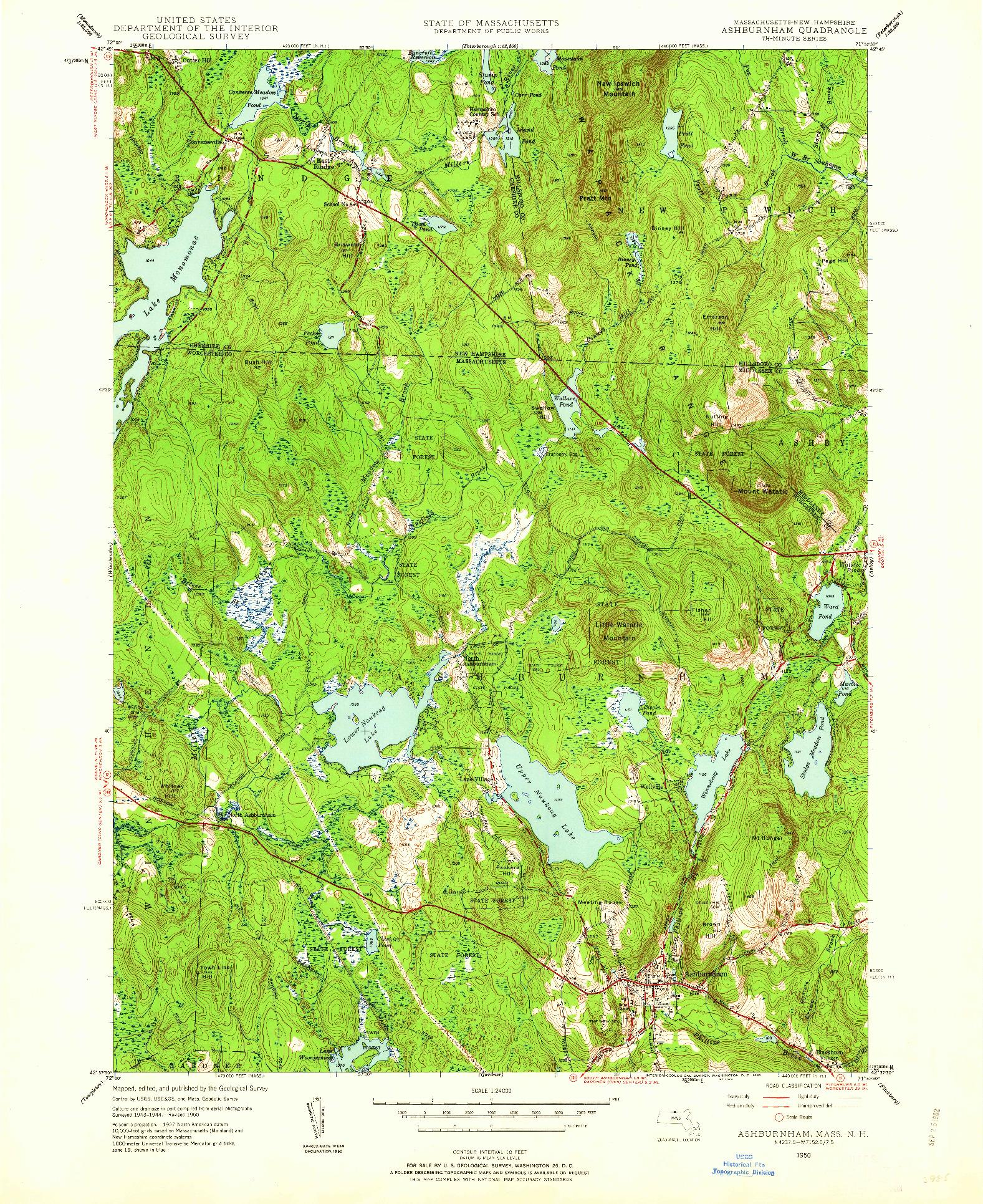 USGS 1:24000-SCALE QUADRANGLE FOR ASHBURNHAM, MA 1950