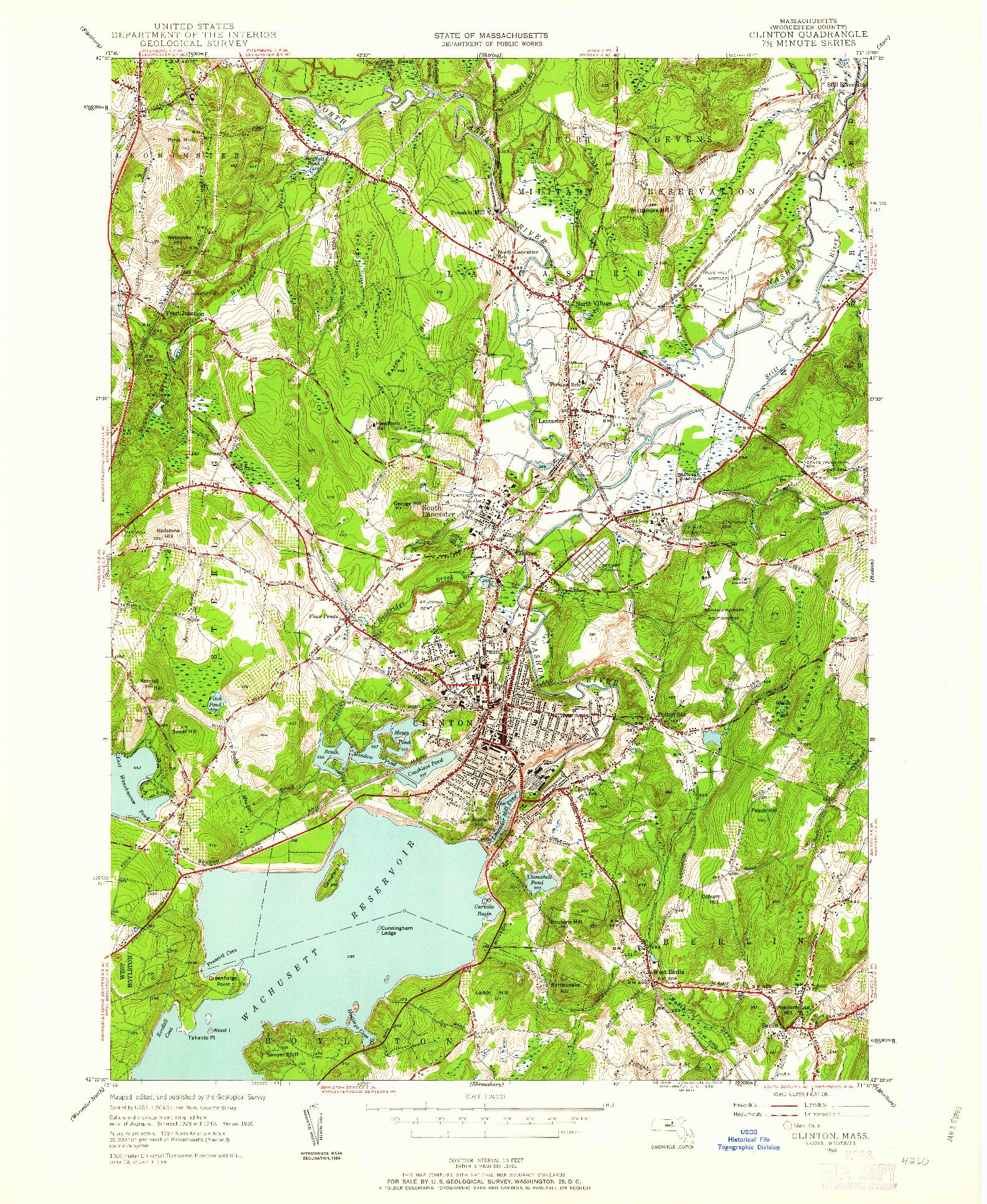 USGS 1:24000-SCALE QUADRANGLE FOR CLINTON, MA 1950