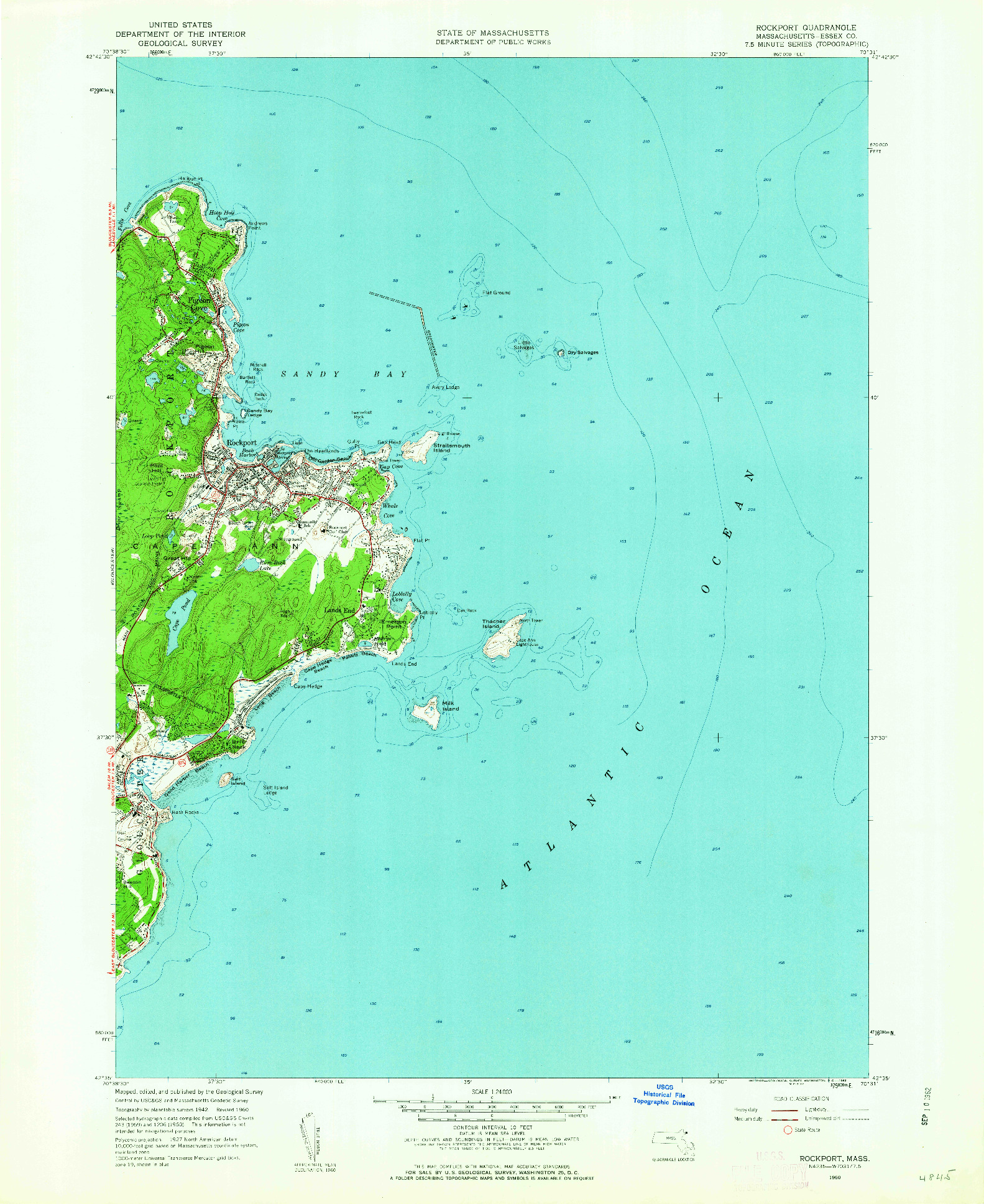 USGS 1:24000-SCALE QUADRANGLE FOR ROCKPORT, MA 1960