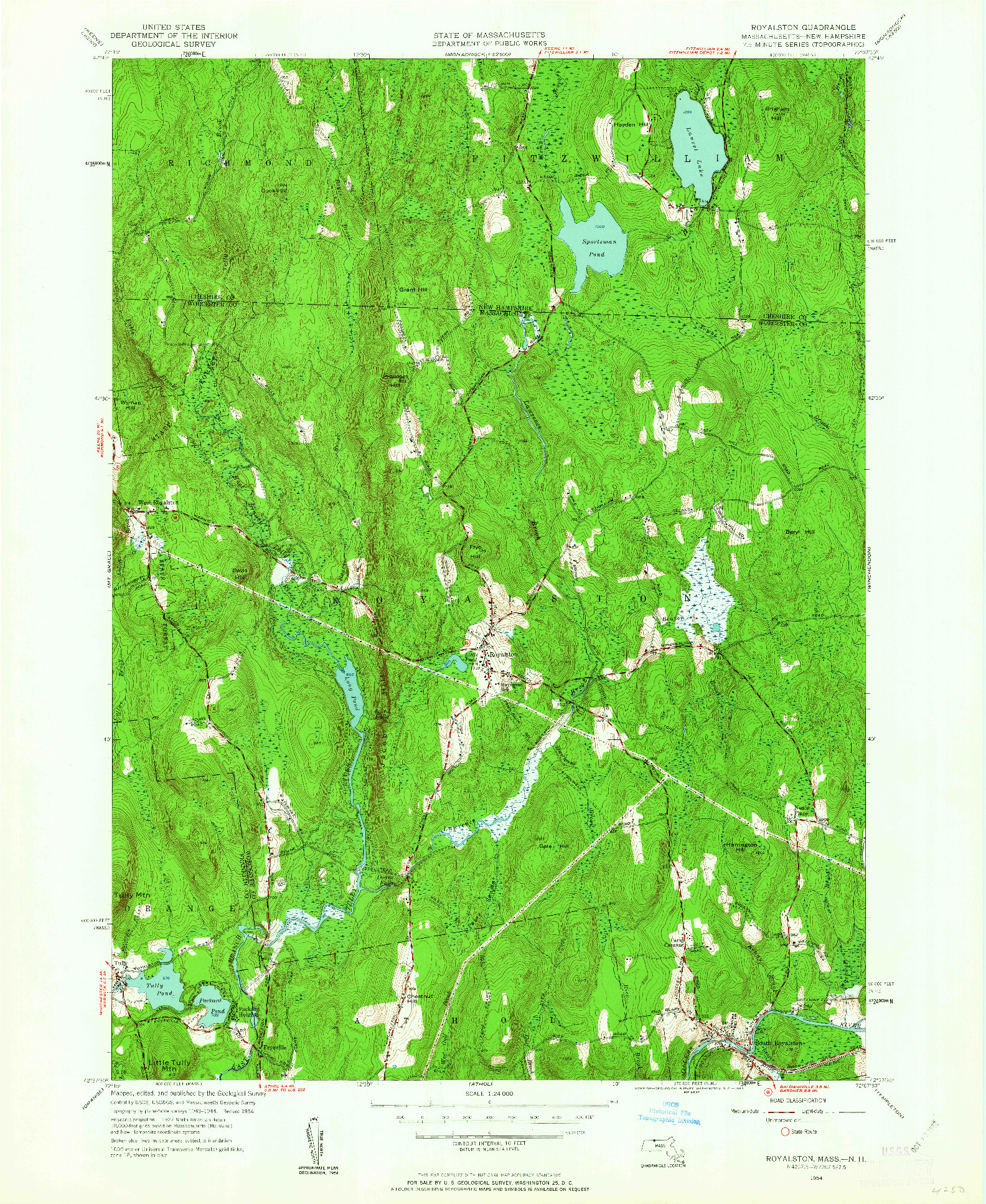 USGS 1:24000-SCALE QUADRANGLE FOR ROYALSTON, MA 1954