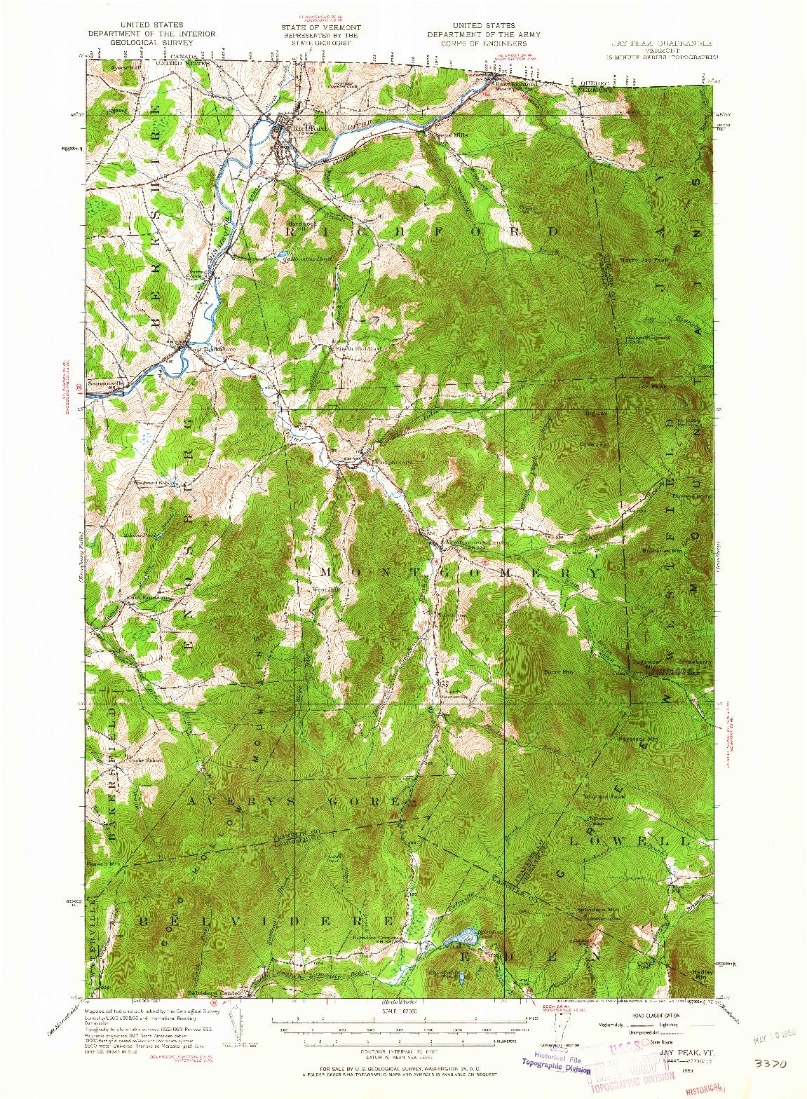 USGS 1:62500-SCALE QUADRANGLE FOR JAY PEAK, VT 1953