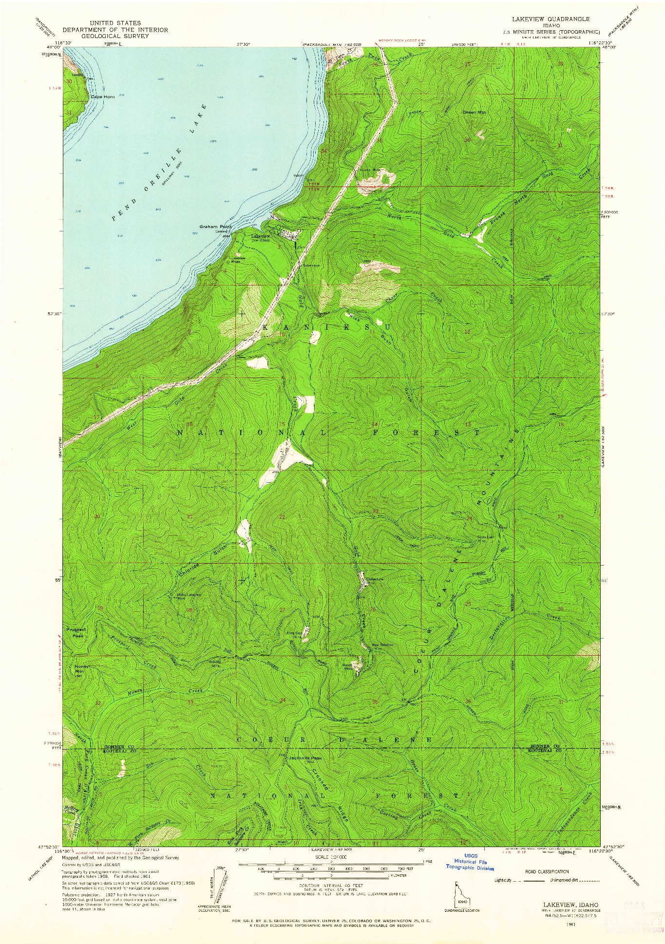 USGS 1:24000-SCALE QUADRANGLE FOR LAKEVIEW, ID 1961