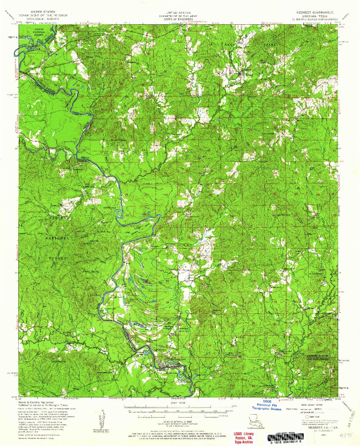 USGS 1:62500-SCALE QUADRANGLE FOR NEGREET, LA 1954