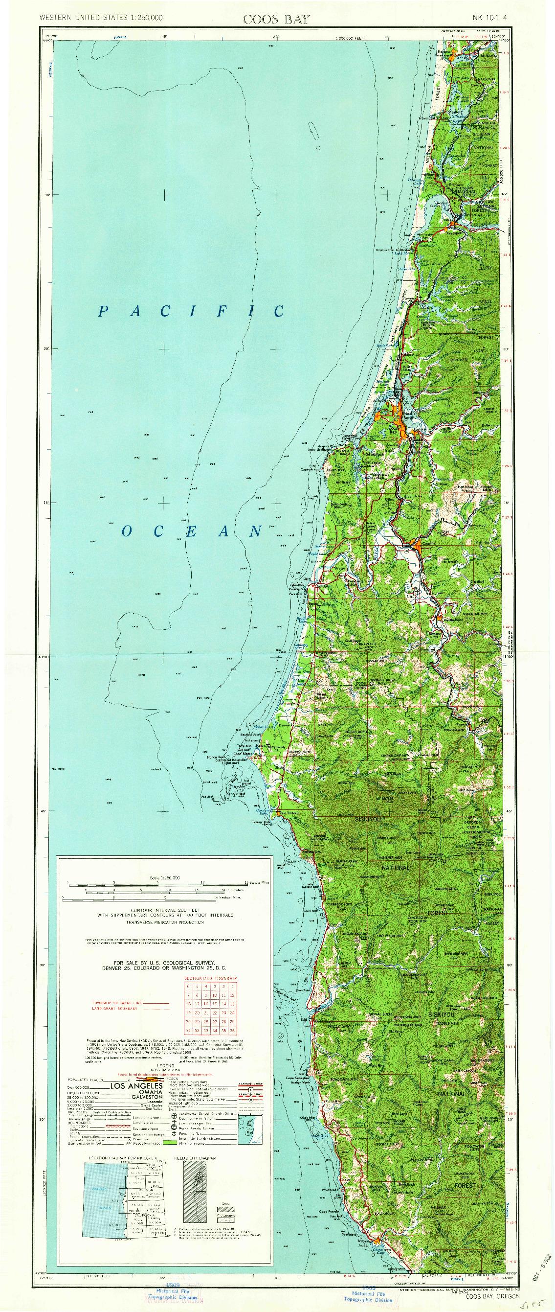 USGS 1:250000-SCALE QUADRANGLE FOR COOS BAY, OR 1962