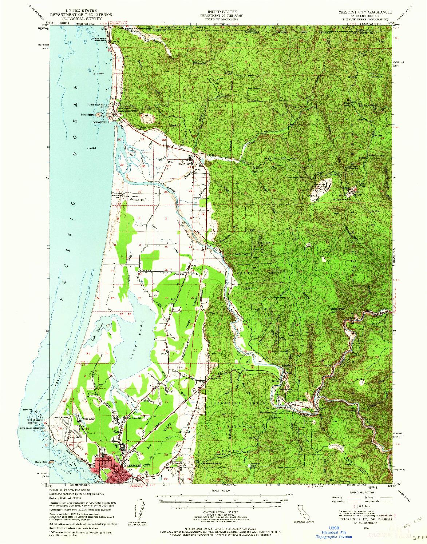 USGS 1:62500-SCALE QUADRANGLE FOR CRESCENT CITY, CA 1952