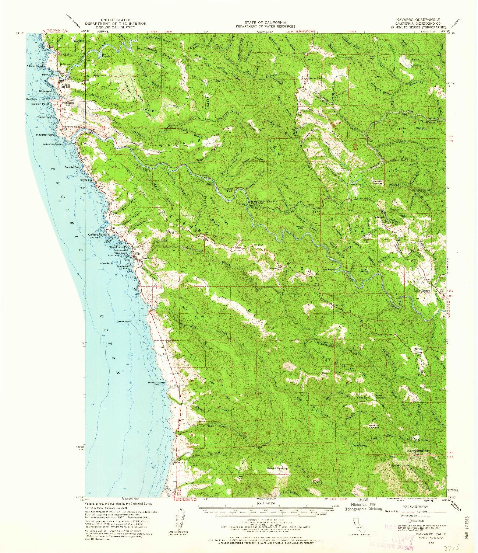 USGS 1:62500-SCALE QUADRANGLE FOR NAVARRO, CA 1961