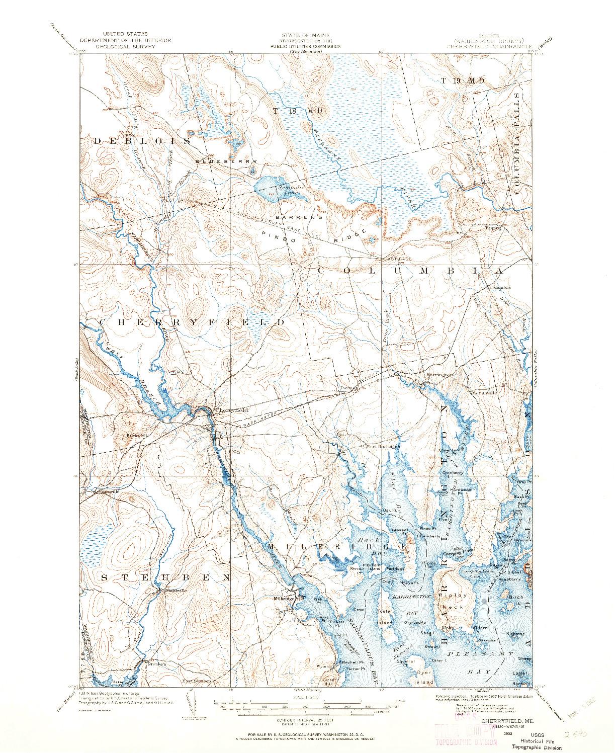 USGS 1:62500-SCALE QUADRANGLE FOR CHERRYFIELD, ME 1902