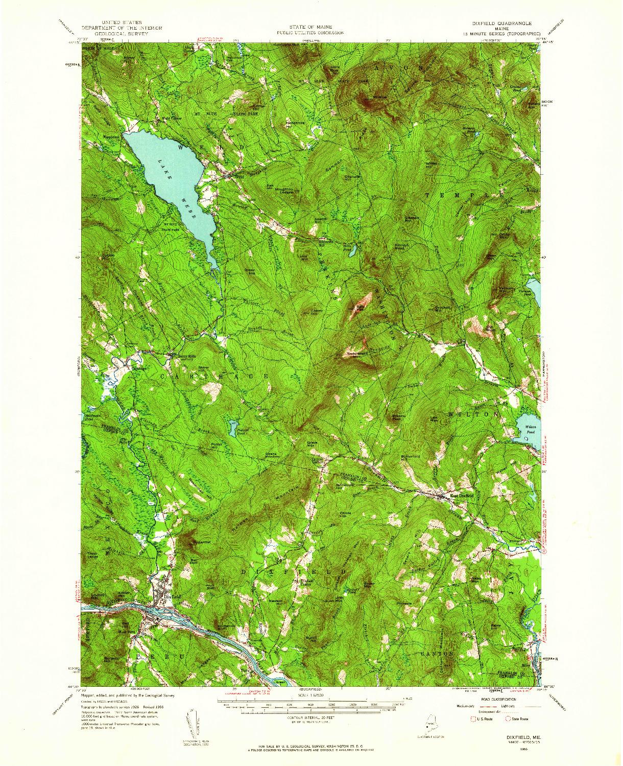 USGS 1:62500-SCALE QUADRANGLE FOR DIXFIELD, ME 1956
