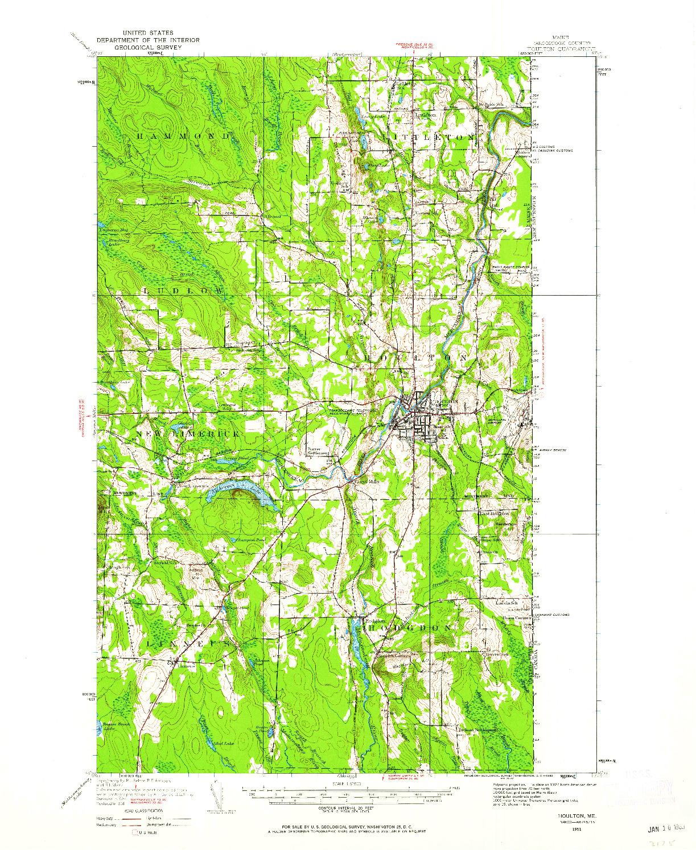 USGS 1:62500-SCALE QUADRANGLE FOR HOULTON, ME 1951