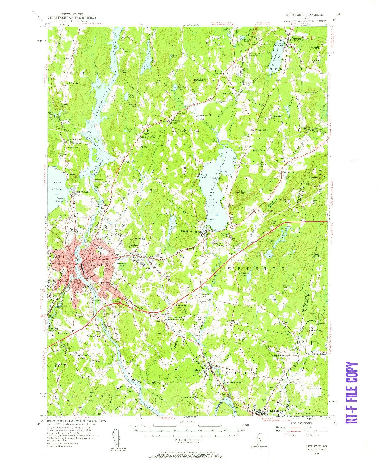 USGS 1:62500-SCALE QUADRANGLE FOR LEWISTON, ME 1956